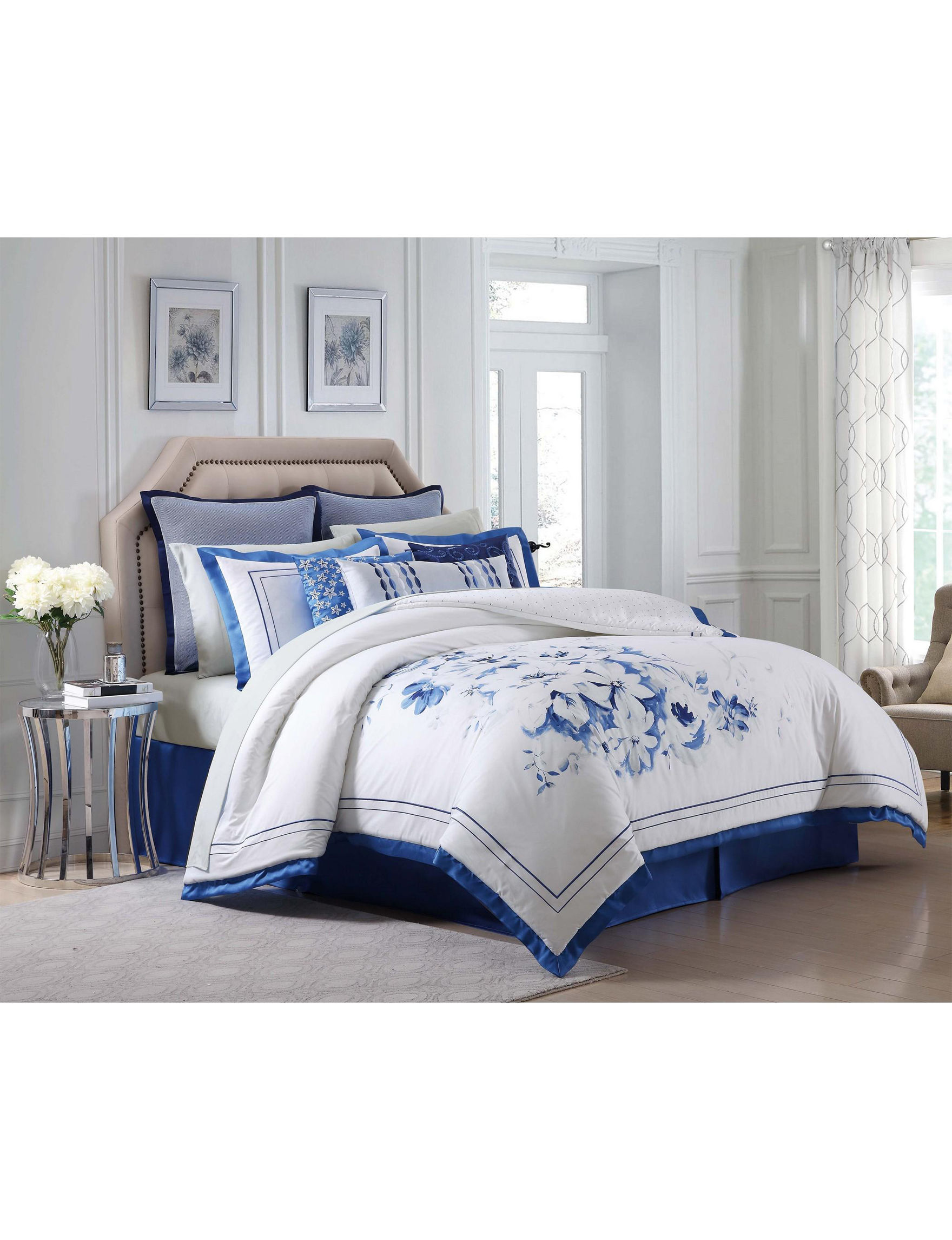 Charisma White / Blue Comforters & Comforter Sets