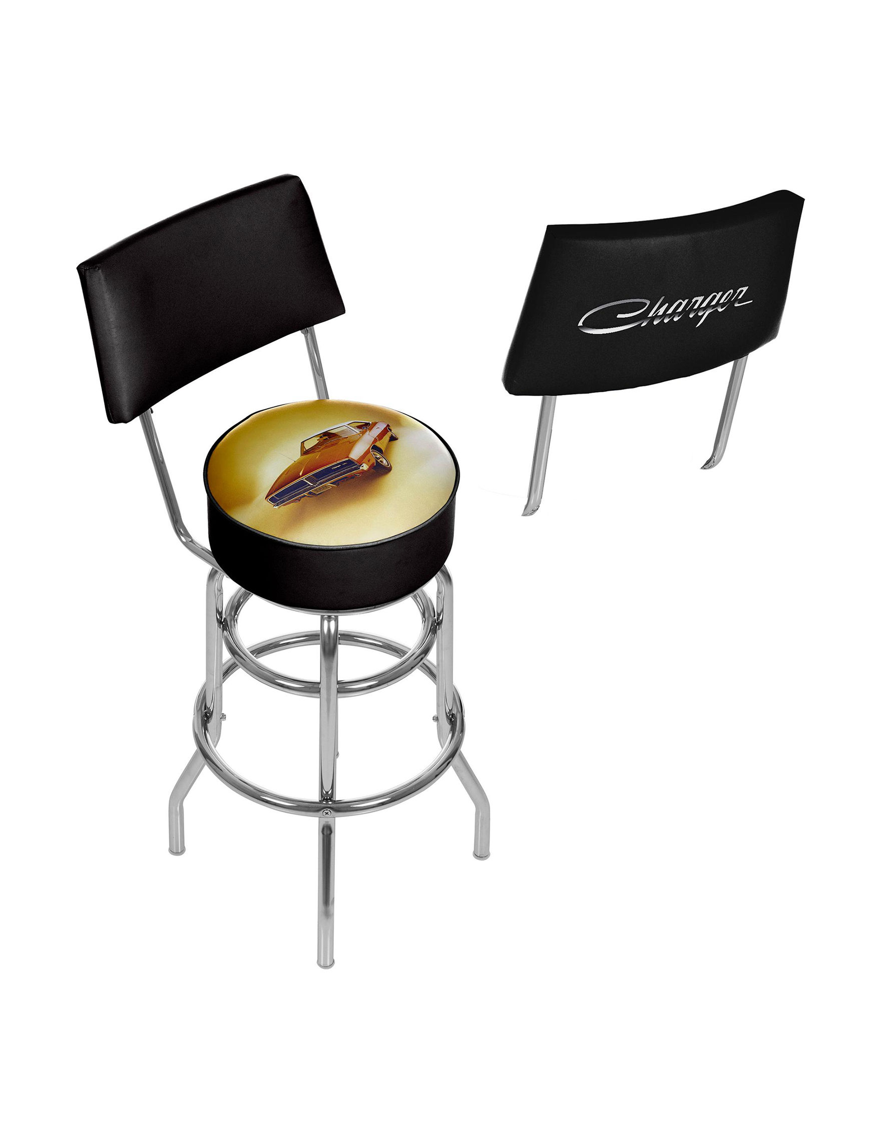 Dodge 69 Charger Chrome Bar Stool With Back Stage Stores