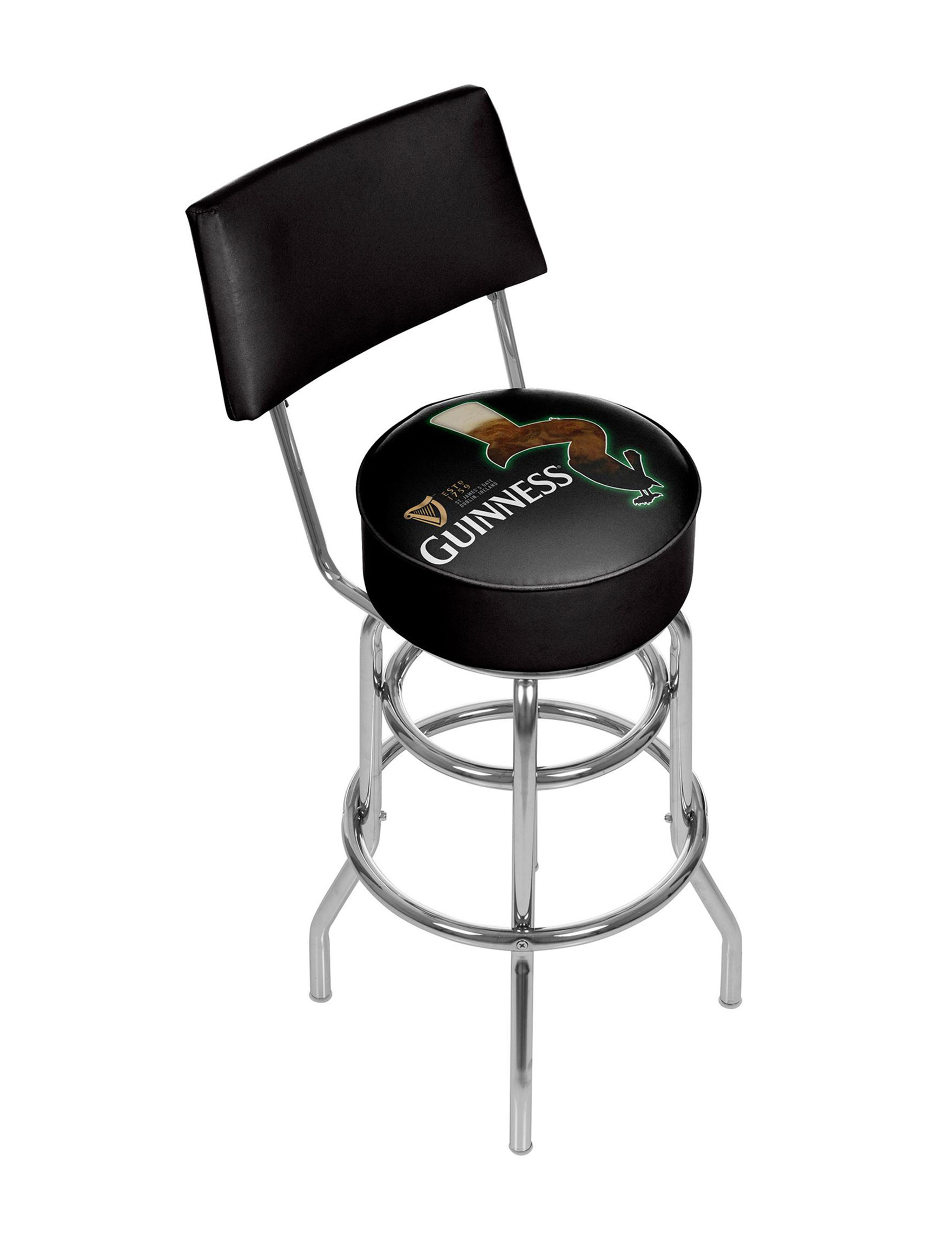 Guinness Feathering Chrome Bar Stool With Back Stage Stores