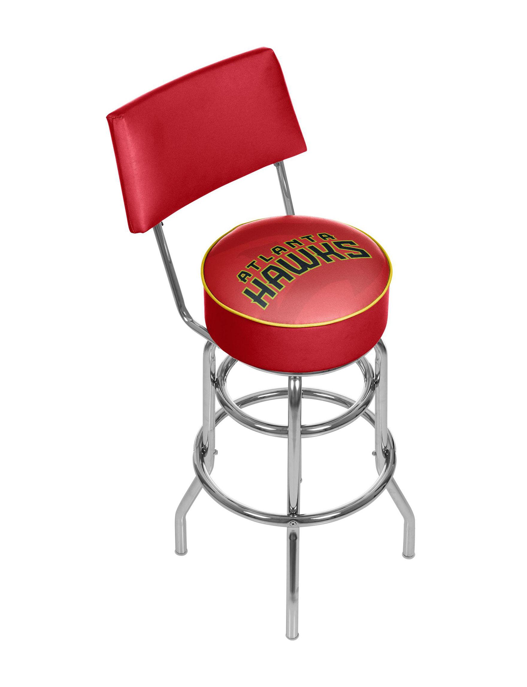 Atlanta Hawks Fade Logo Chrome Bar Stool With Back Stage