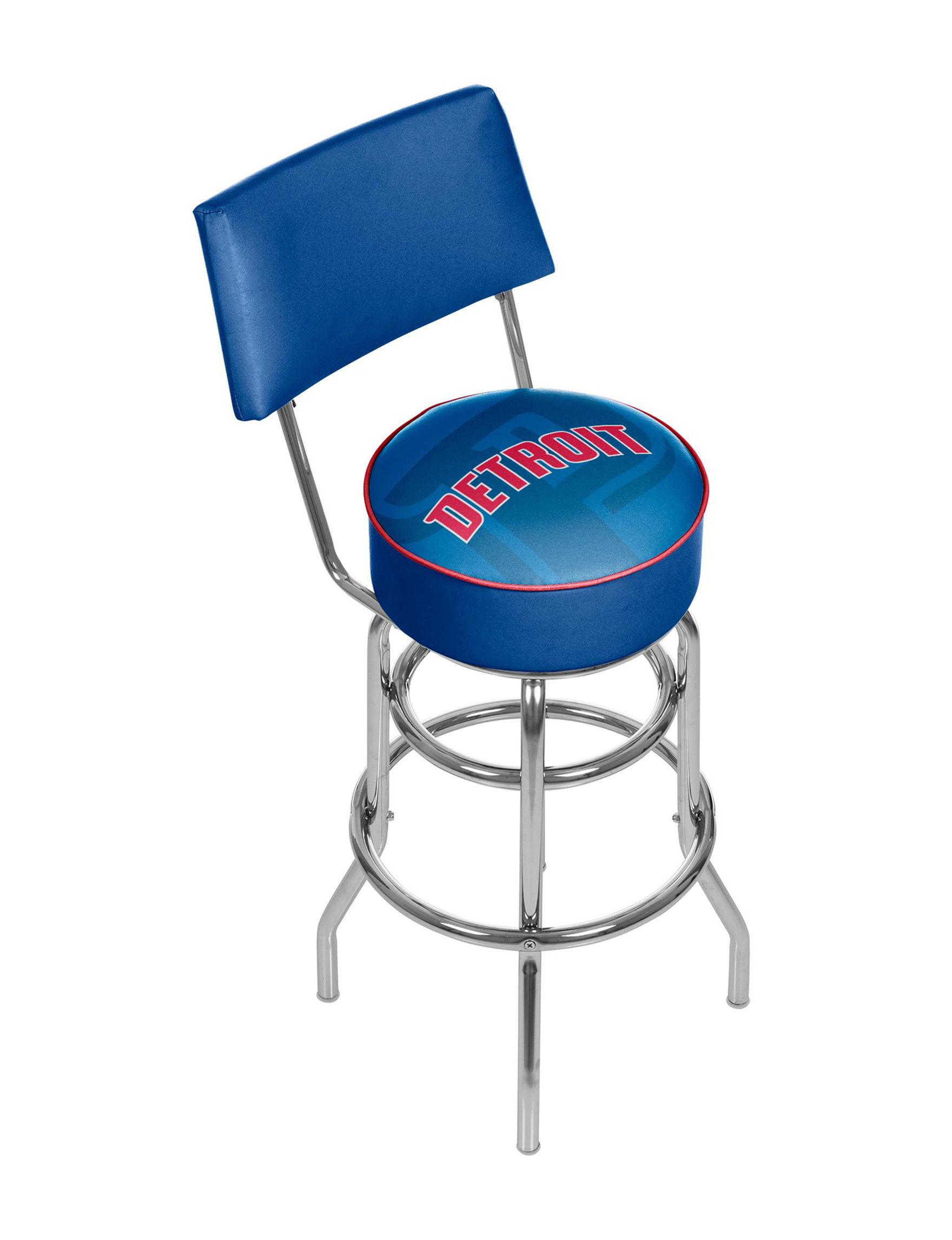 Detroit Pistons Fade Logo Chrome Bar Stool With Back