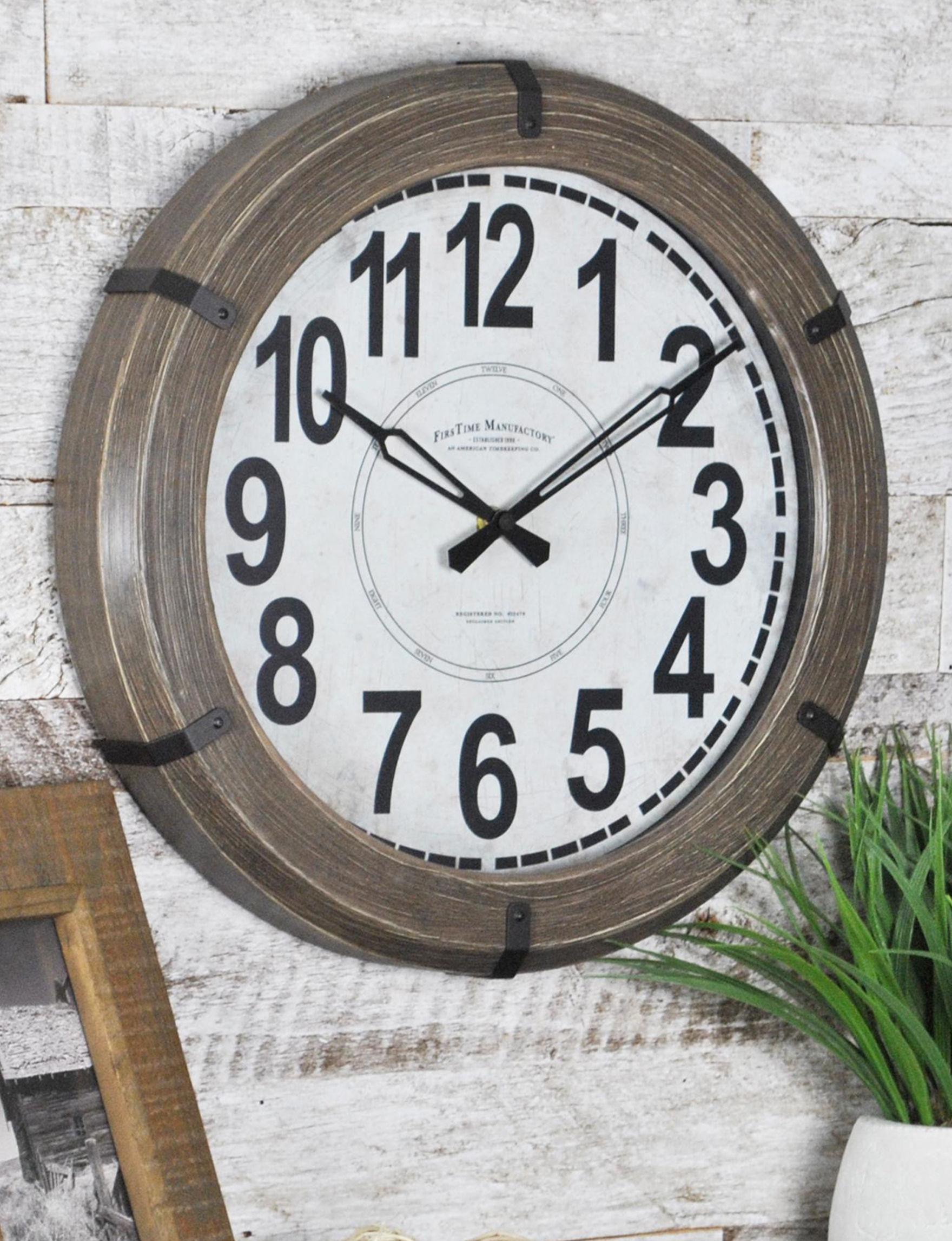 Firstime Manufactory Brown Wall Clocks Wall Decor