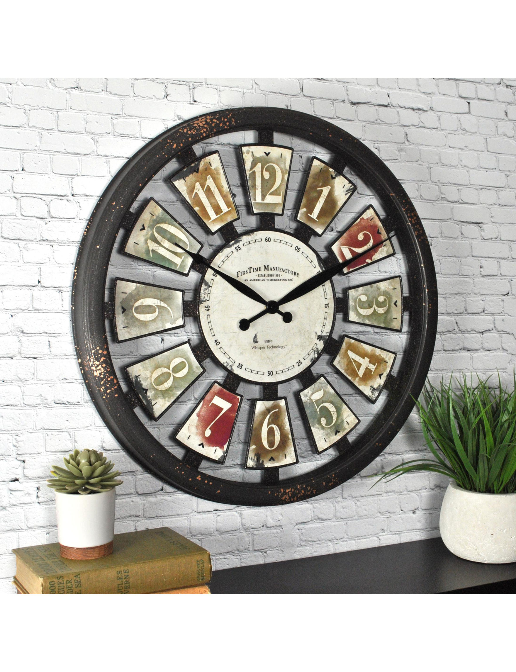 Firstime Manufactory Brown / White Wall Clocks Wall Decor