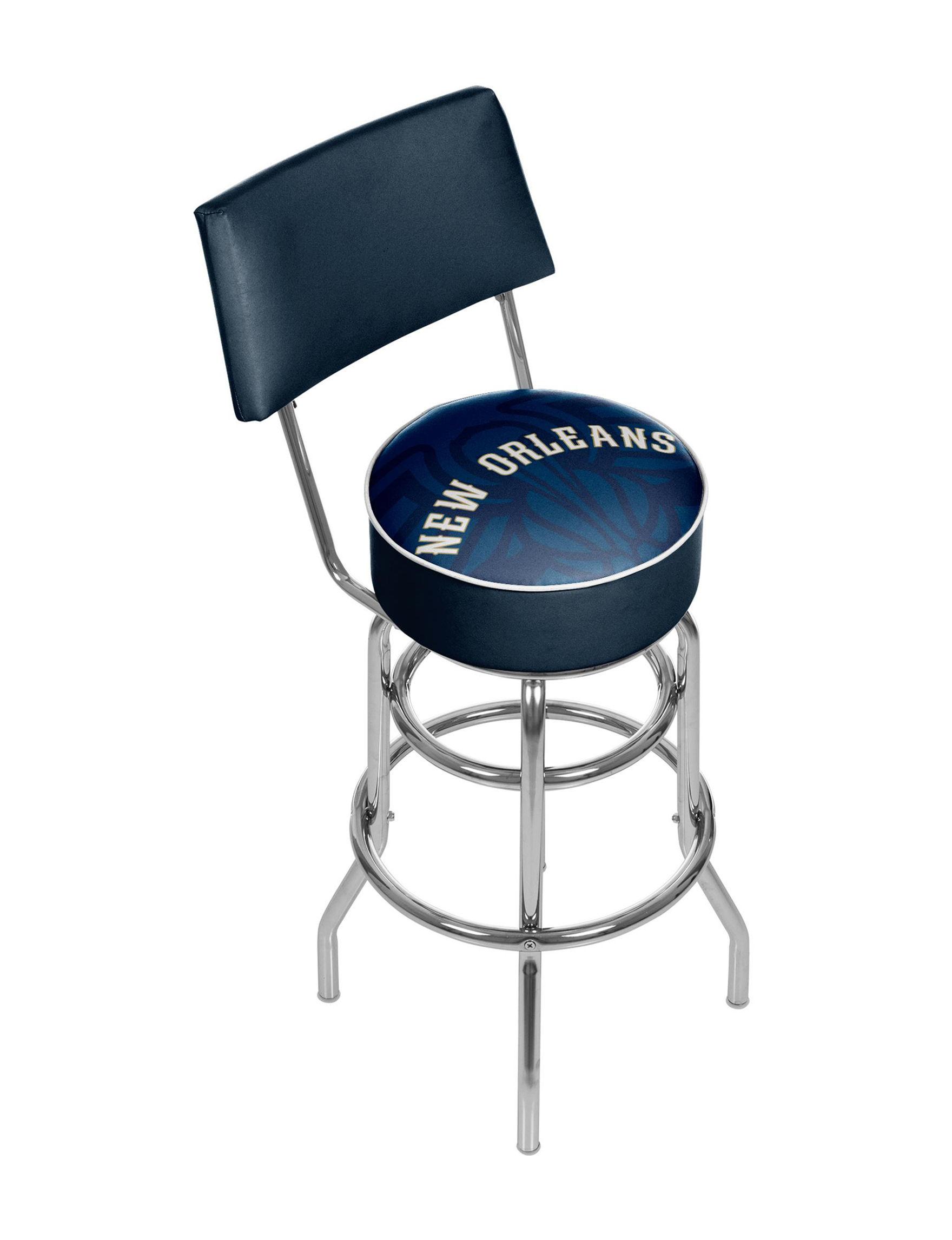 Trademark Global Navy / White Bar & Kitchen Stools Game Room Kitchen & Dining Furniture