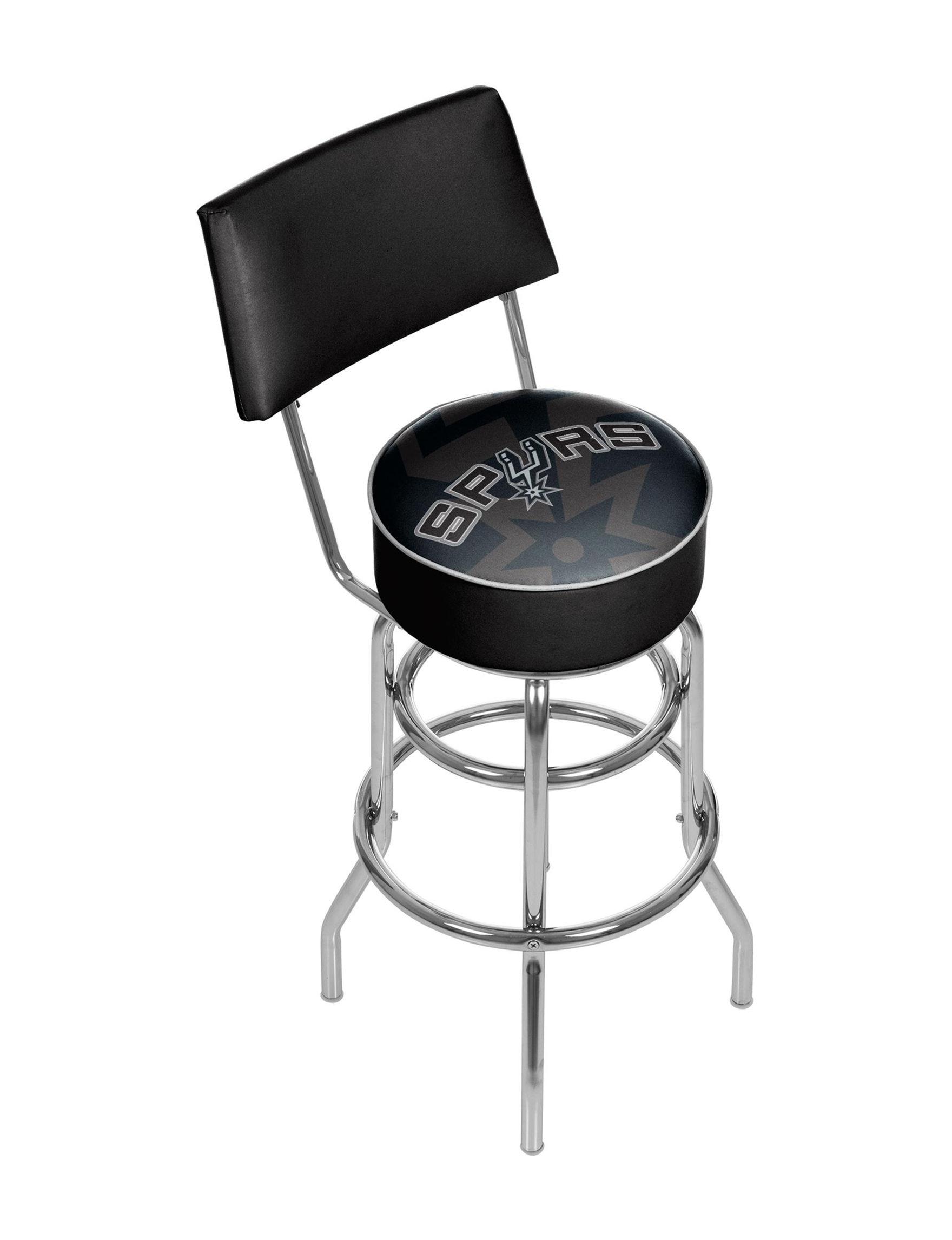 Trademark Global Black / Silver Bar & Kitchen Stools Game Room Kitchen & Dining Furniture