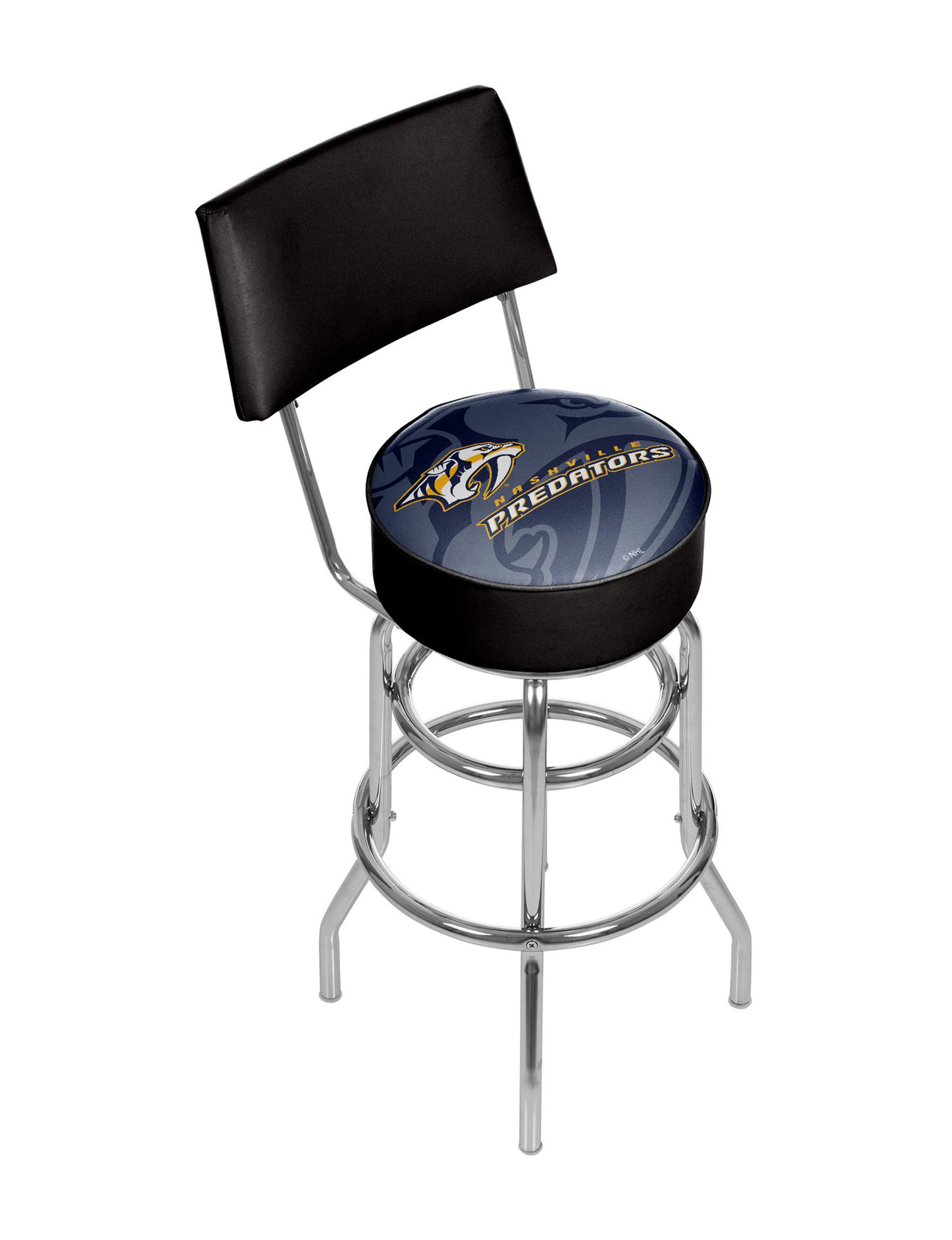 Nashville Predators Watermark Chrome Bar Stool With Back