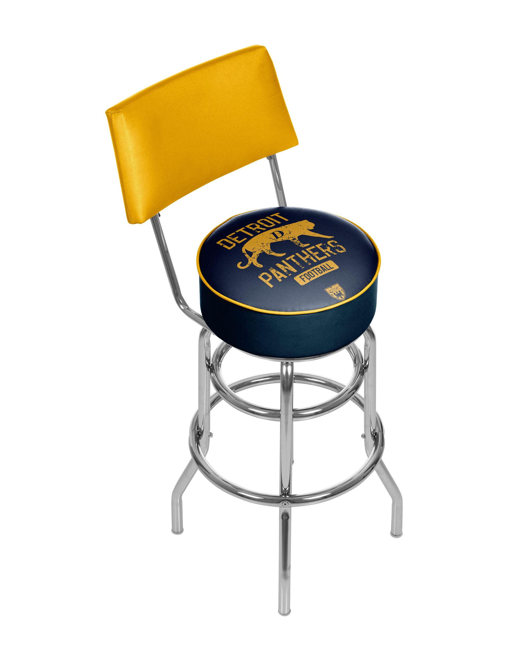 Trademark Global Navy / Yellow Bar & Kitchen Stools Game Room Kitchen & Dining Furniture