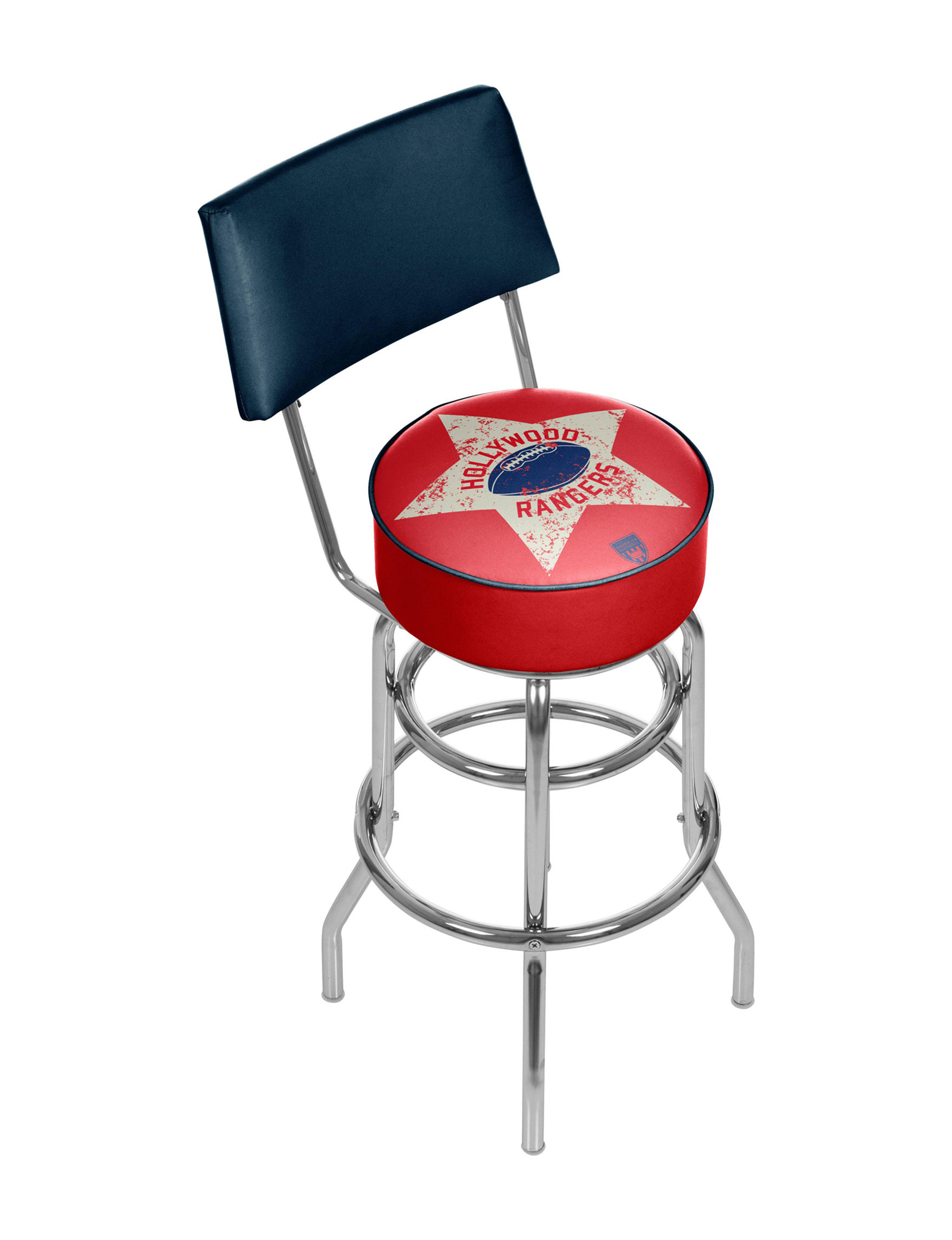 Hollywood Rangers Chrome Bar Stool With Back Stage Stores