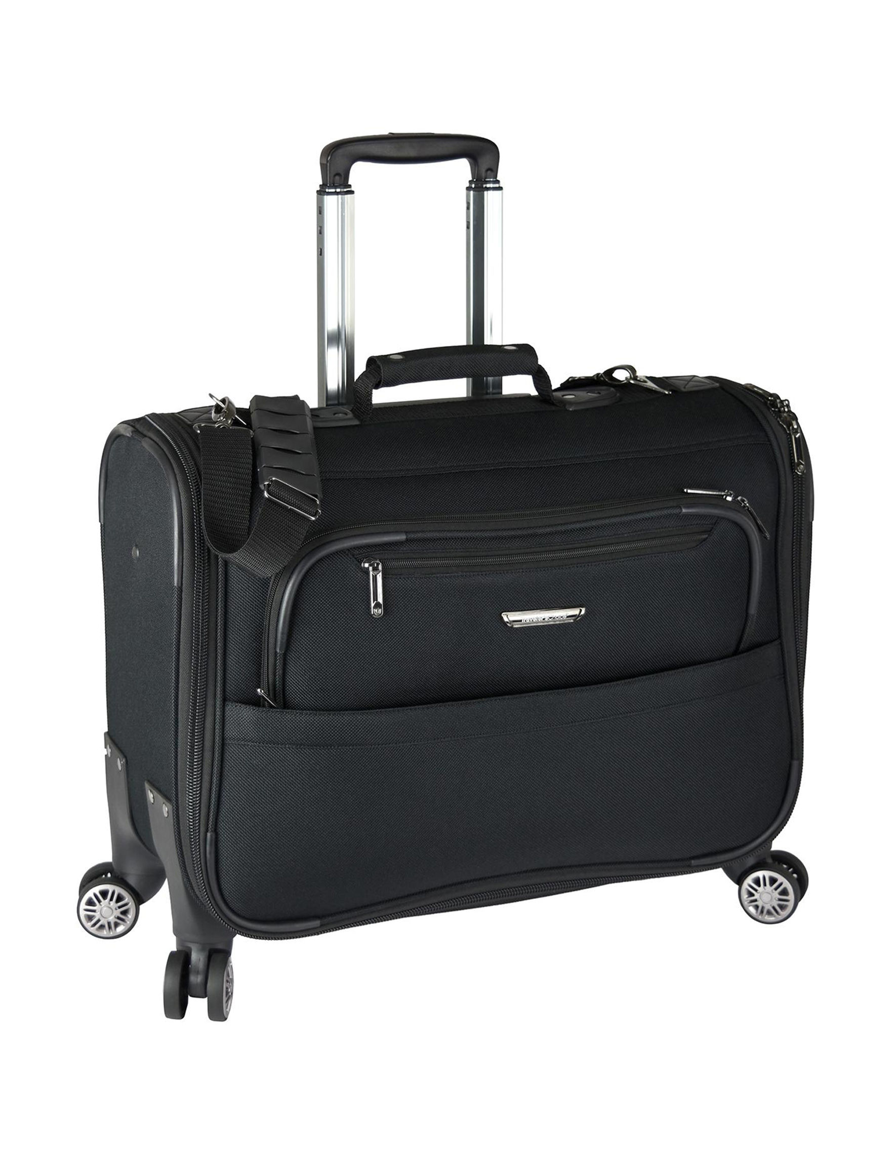 Travelers Choice Black Carry On Luggage Upright Spinners