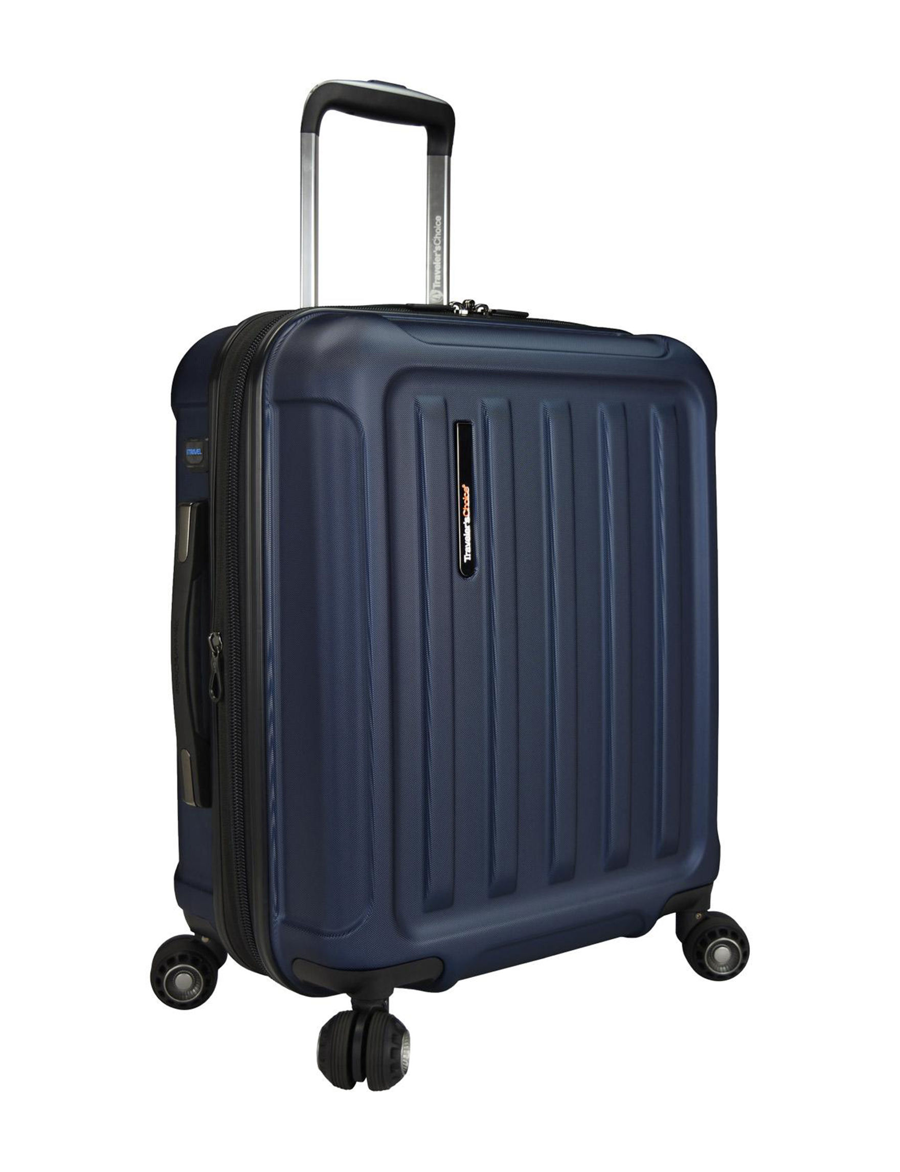 Travelers Choice Navy Carry On Luggage Upright Spinners