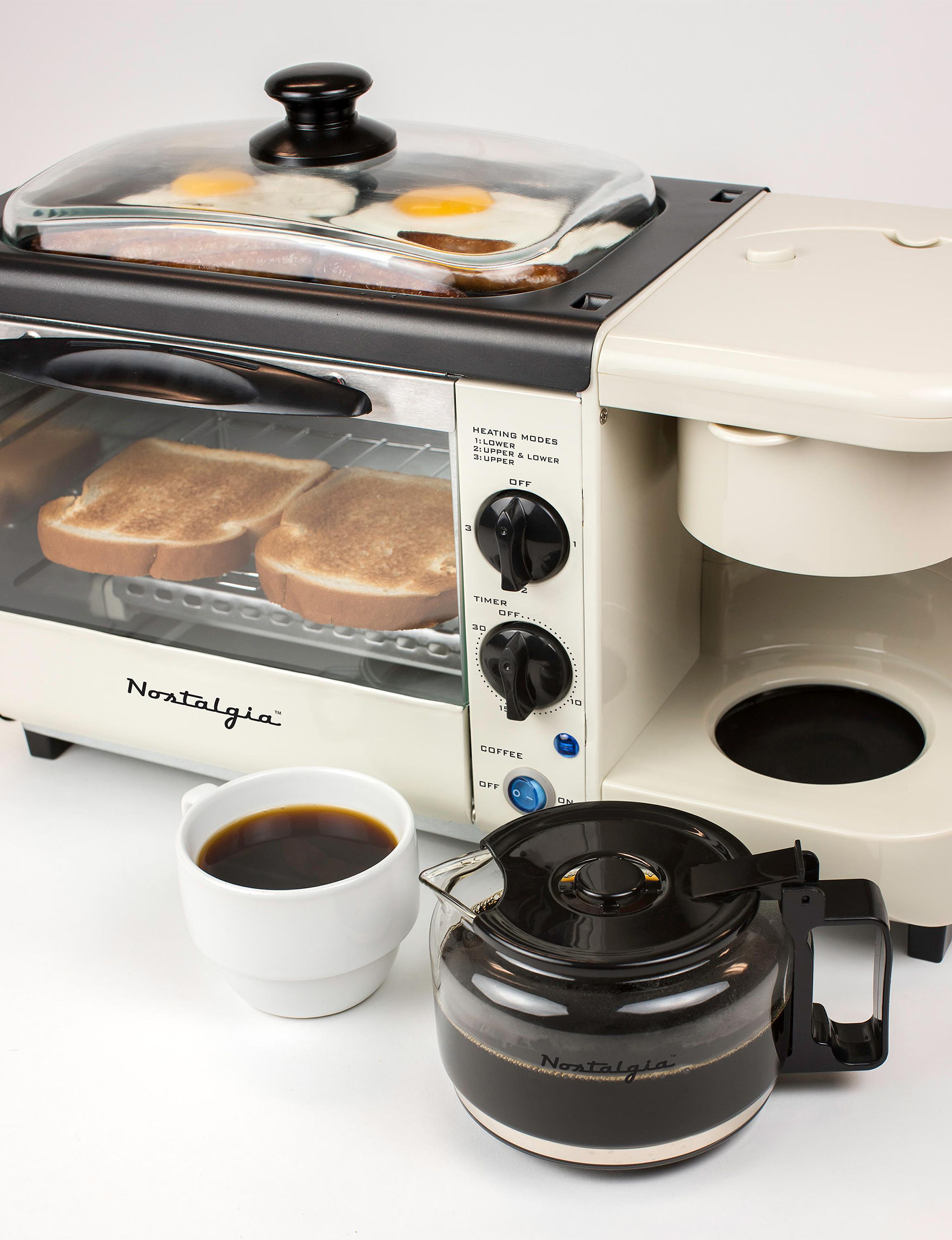 Nostalgia Electrics Beige / Black Coffee, Espresso & Tea Makers Electric Grills, Griddles & Waffle Makers Specialty Food Makers Toasters & Toaster Ovens Kitchen Appliances