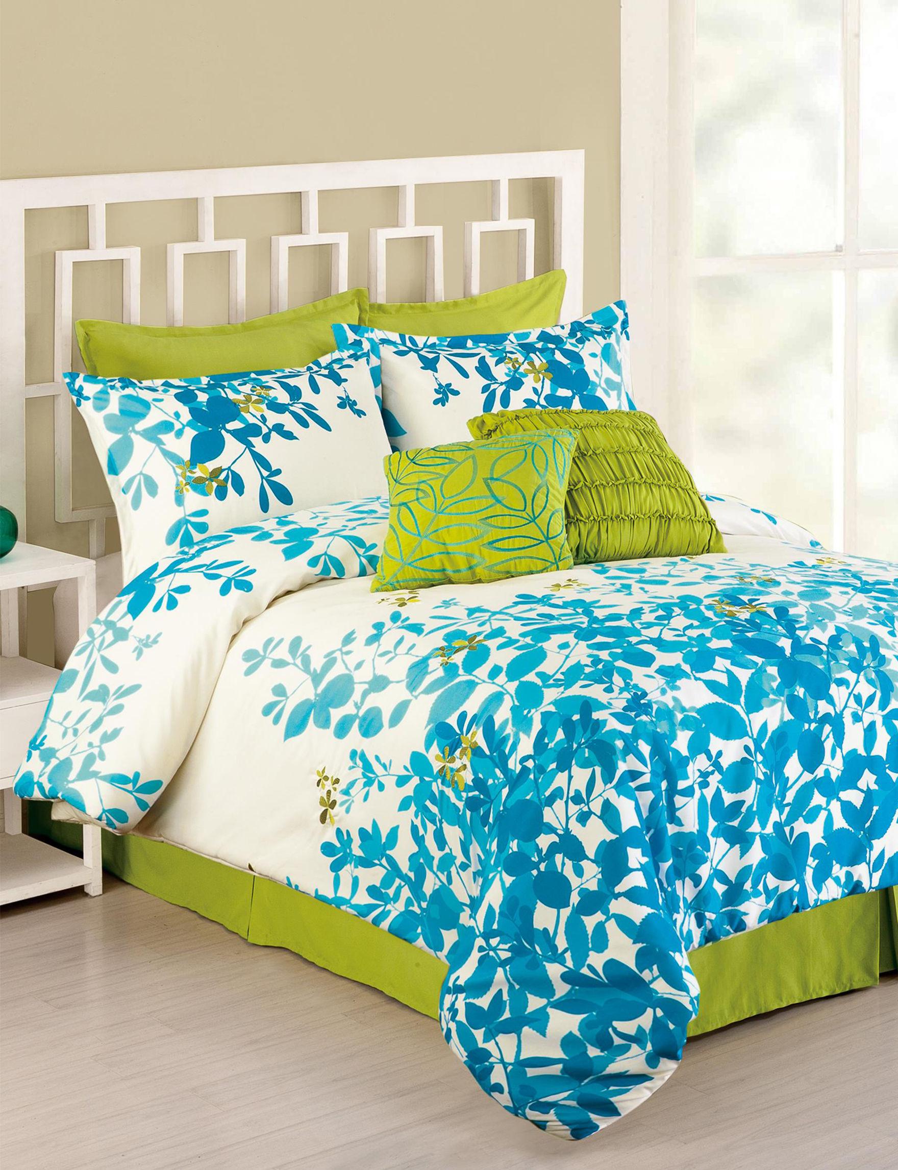 Presidio Square Blue / White Comforters & Comforter Sets