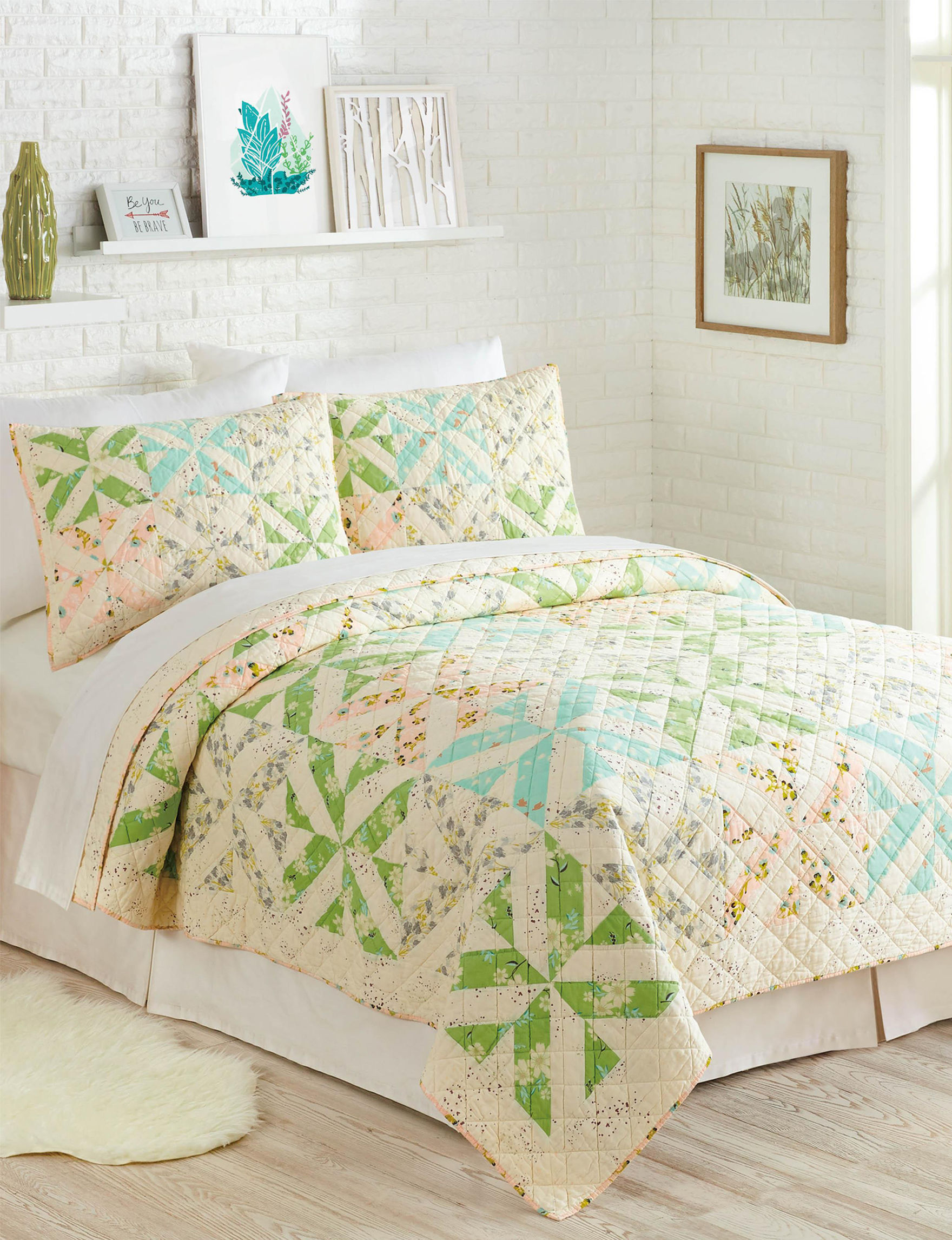 Makers Collective Blue/ Green/ Beige Quilts & Quilt Sets