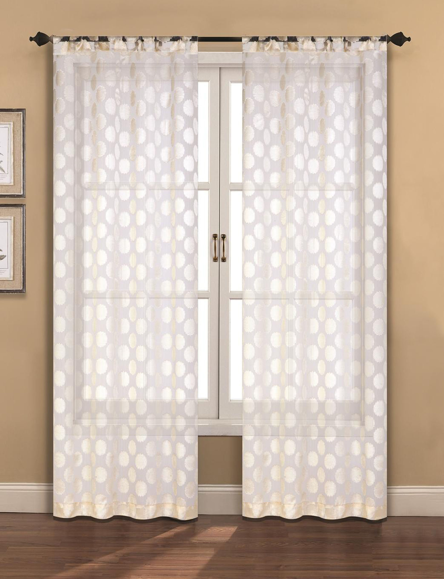 Devine Ivory Sheer Curtain Panel Set