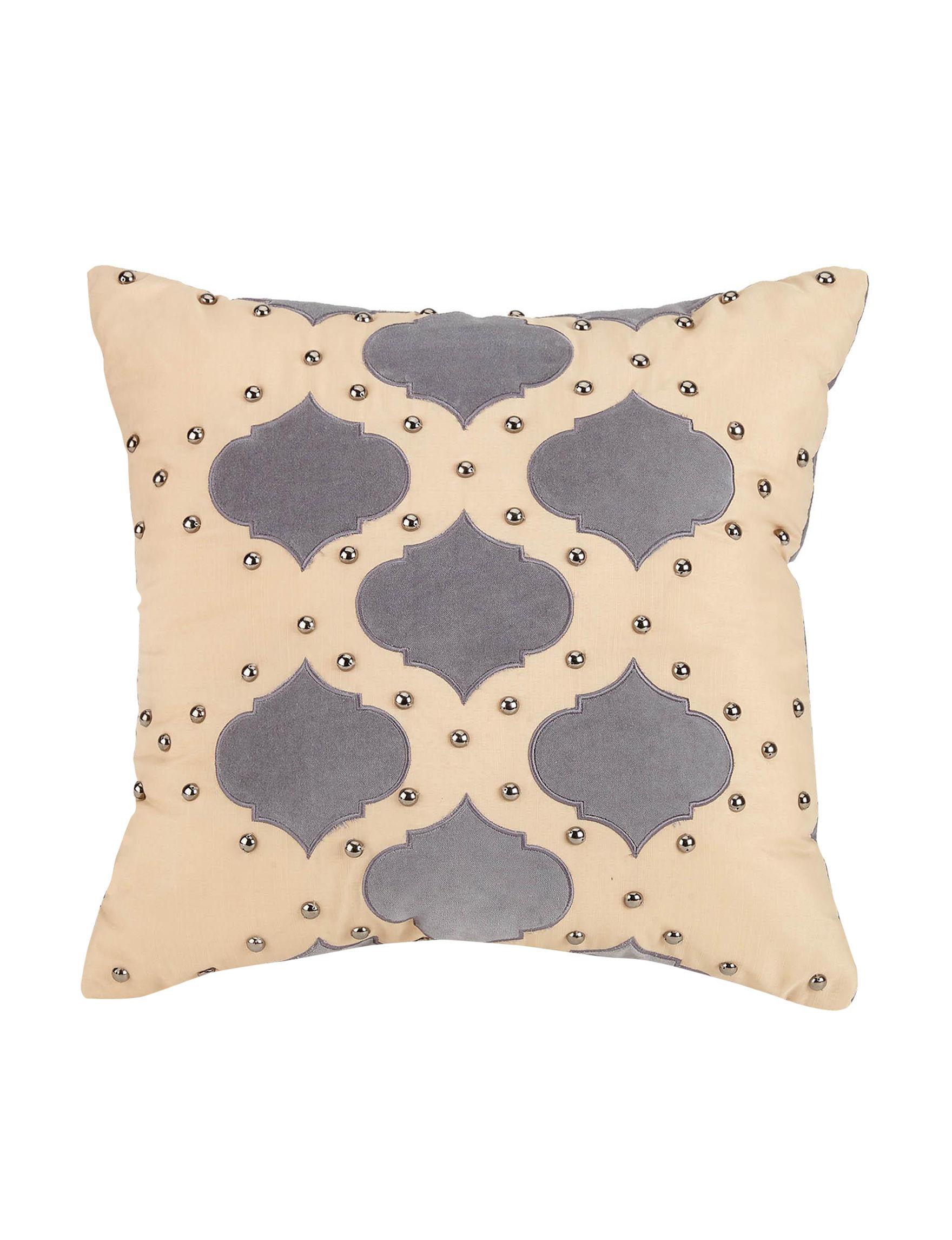 Jessica Simpson Coral / Grey Decorative Pillows
