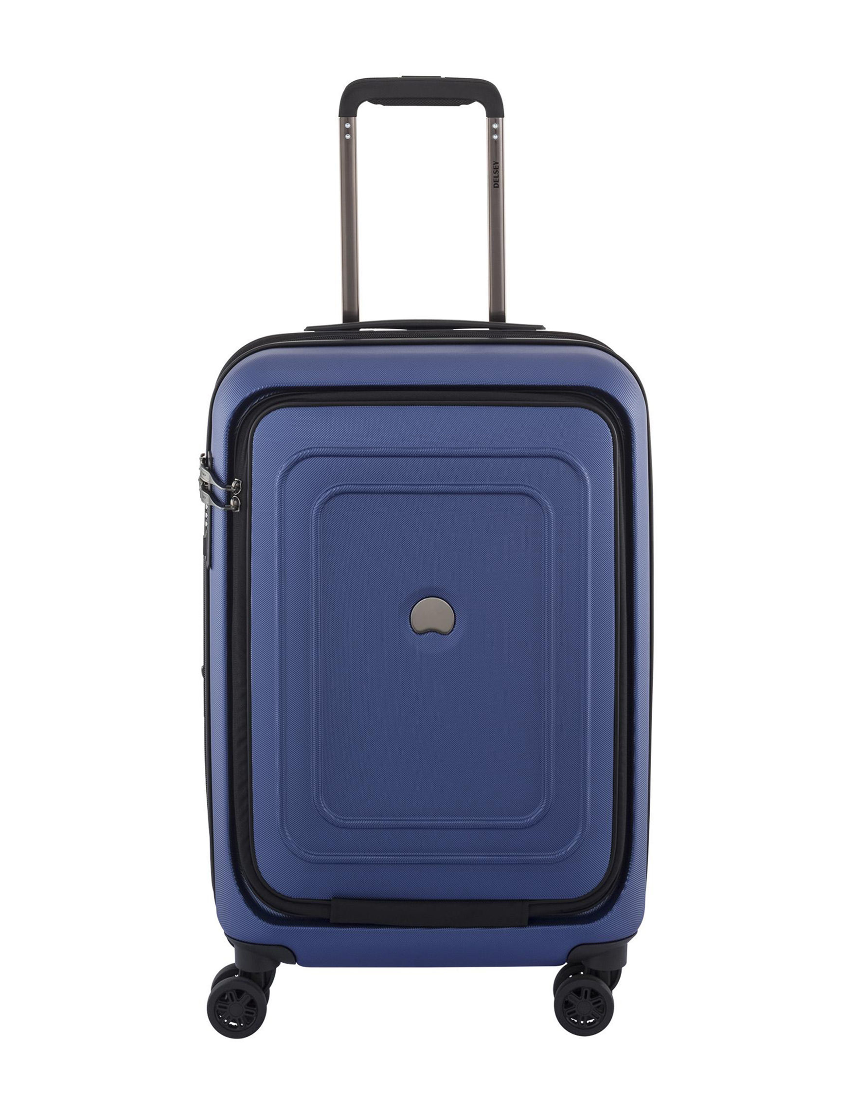 Delsey Blue Carry On Luggage Upright Spinners