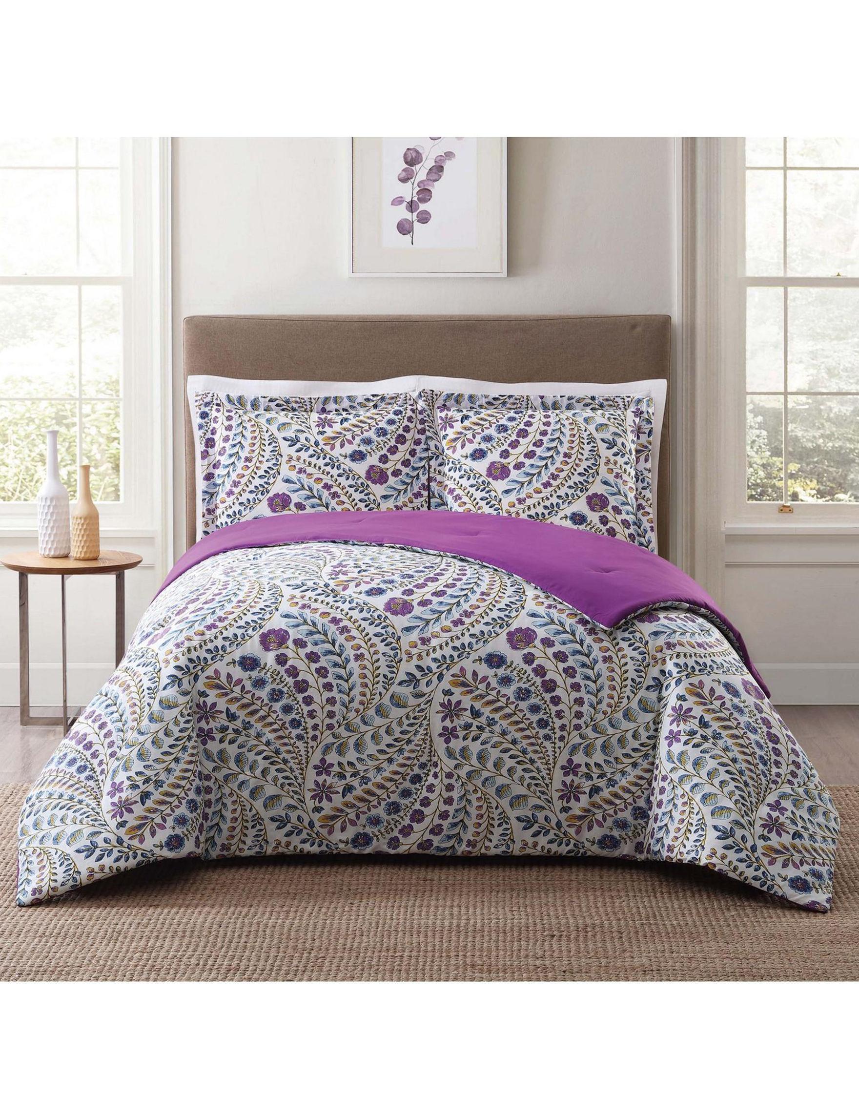Style 212 White / Purple Comforters & Comforter Sets