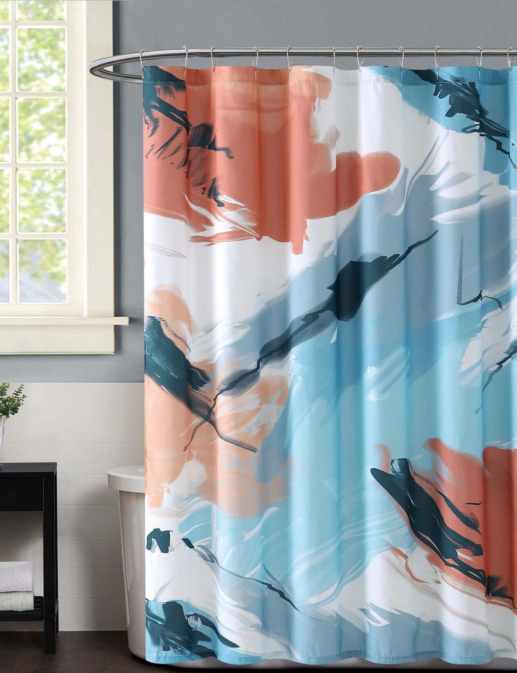 Vince Camuto Blue / Pink Shower Curtains & Hooks