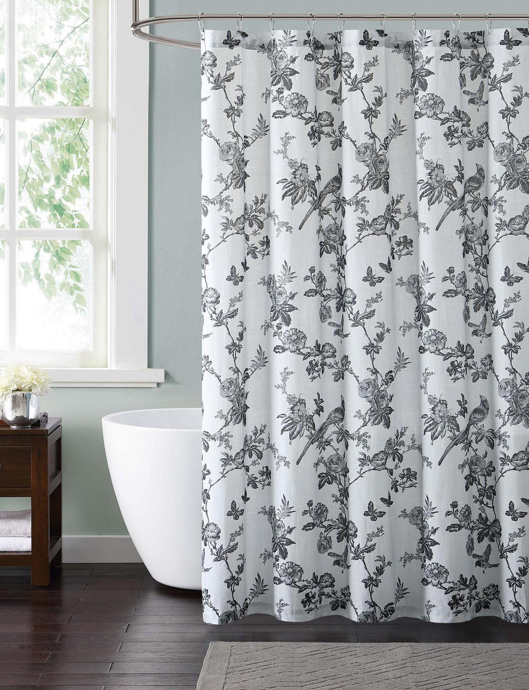 Style 212 White / Black Shower Curtains & Hooks