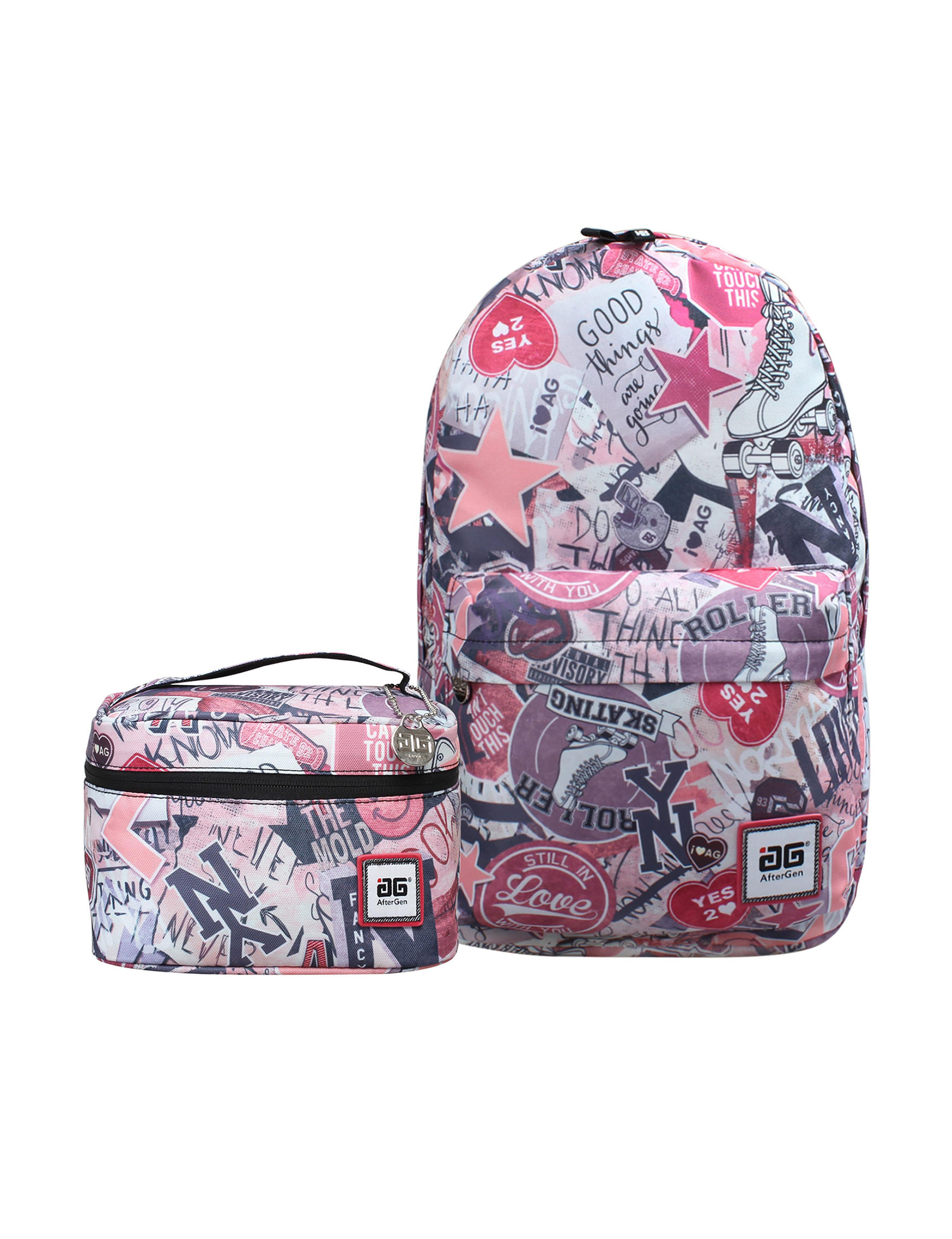 Aftergen Pink / White Lunch Boxes & Bags Bookbags & Backpacks Travel Accessories