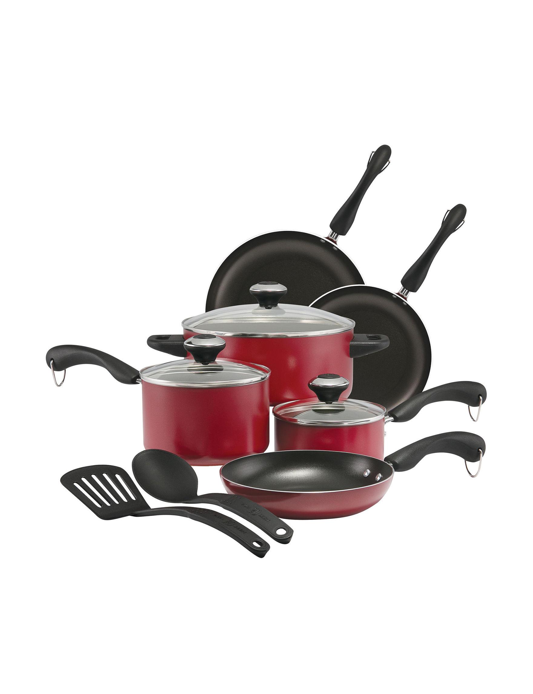 Paula Deen Red / Black Cookware Sets Frying Pans & Skillets Cookware