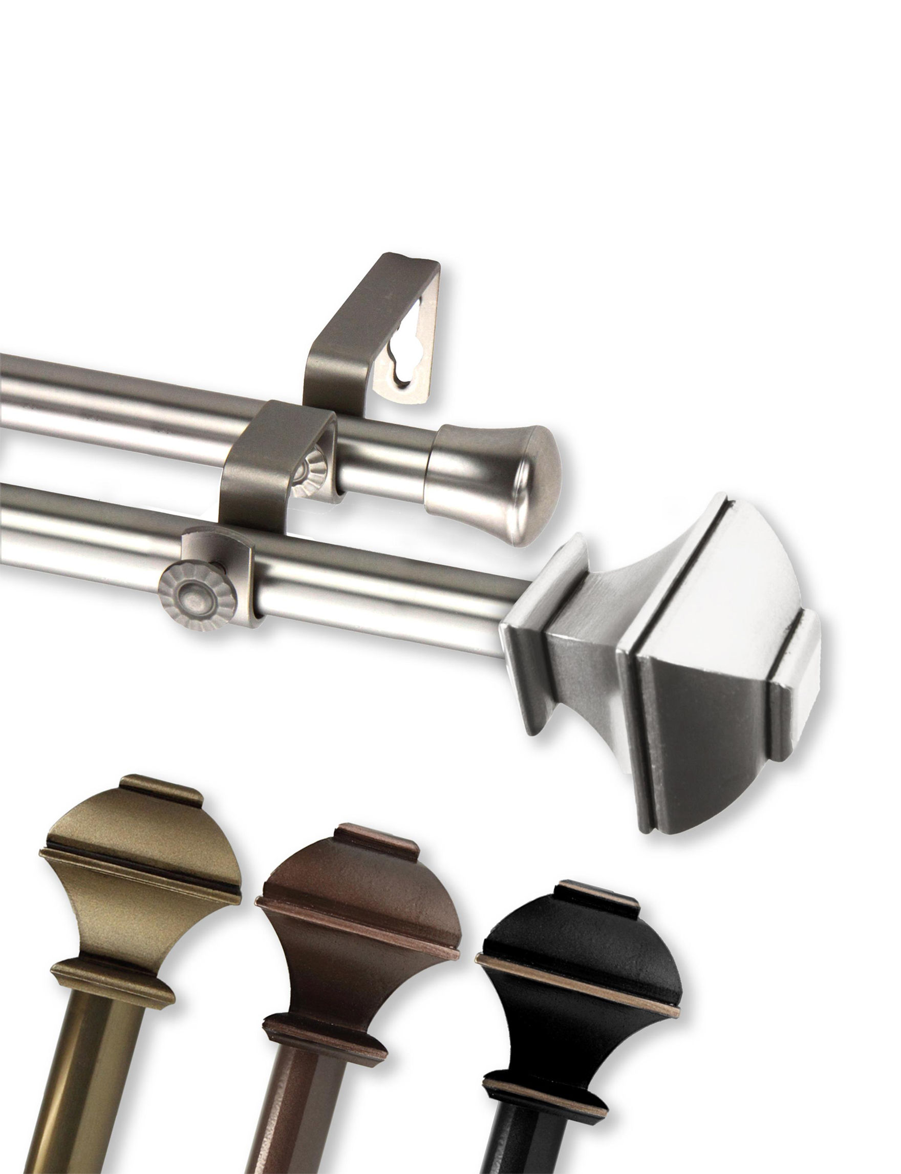 Rod Desyne Silver Curtain Rods & Hardware Window Treatments