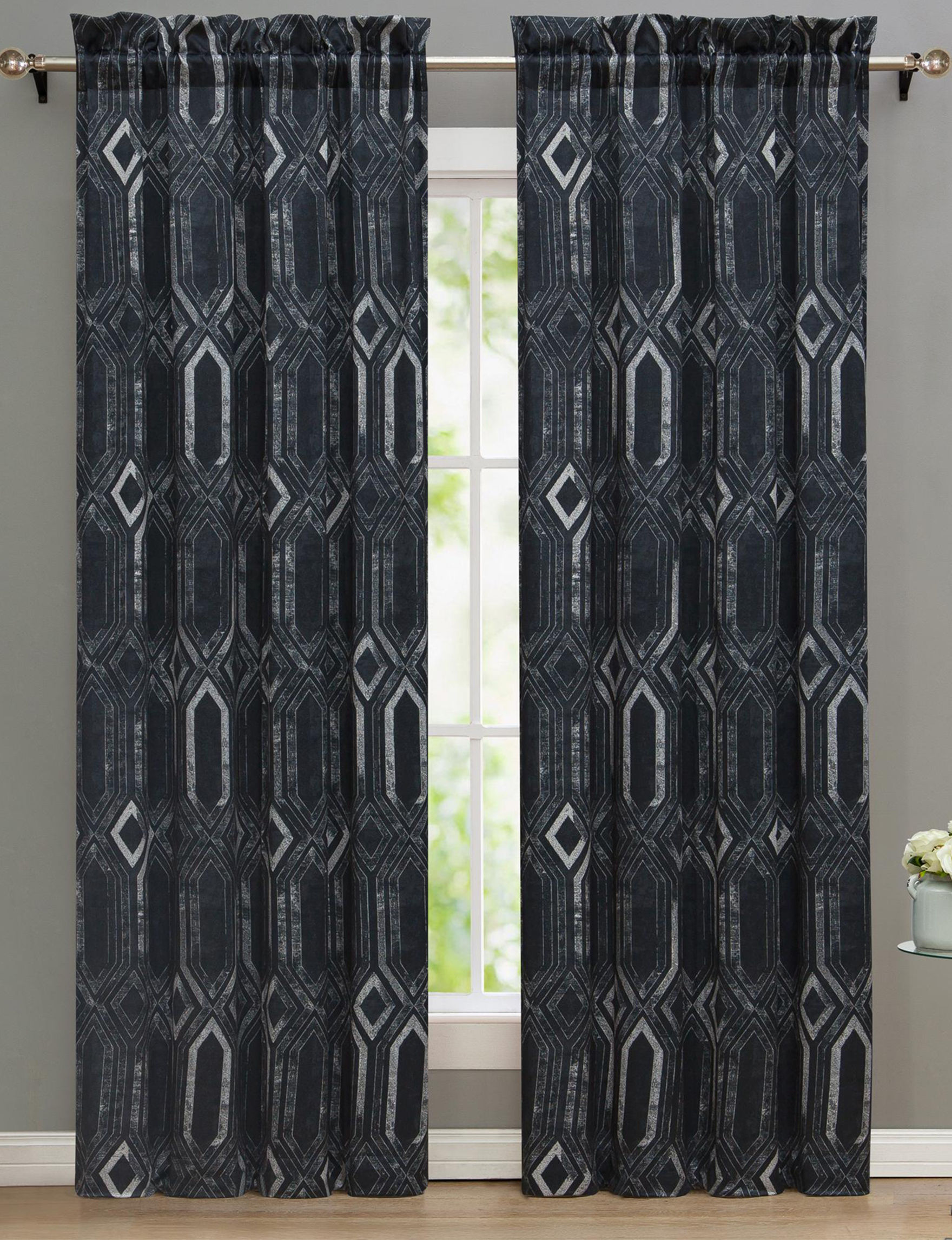 Nikki Chu Black Curtains & Drapes Window Treatments