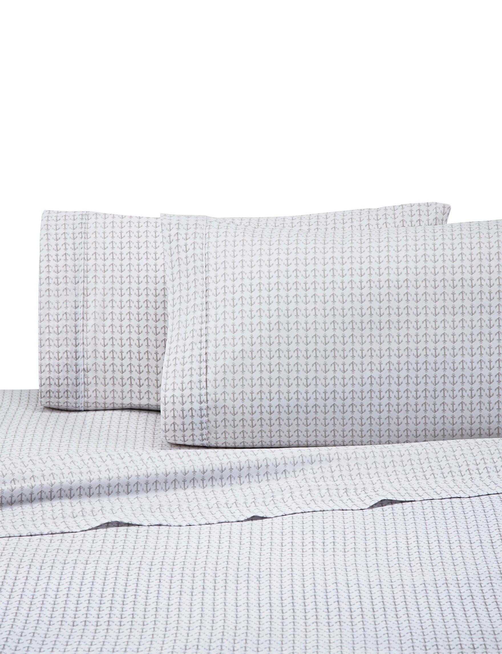 Izod White / Grey Sheets & Pillowcases