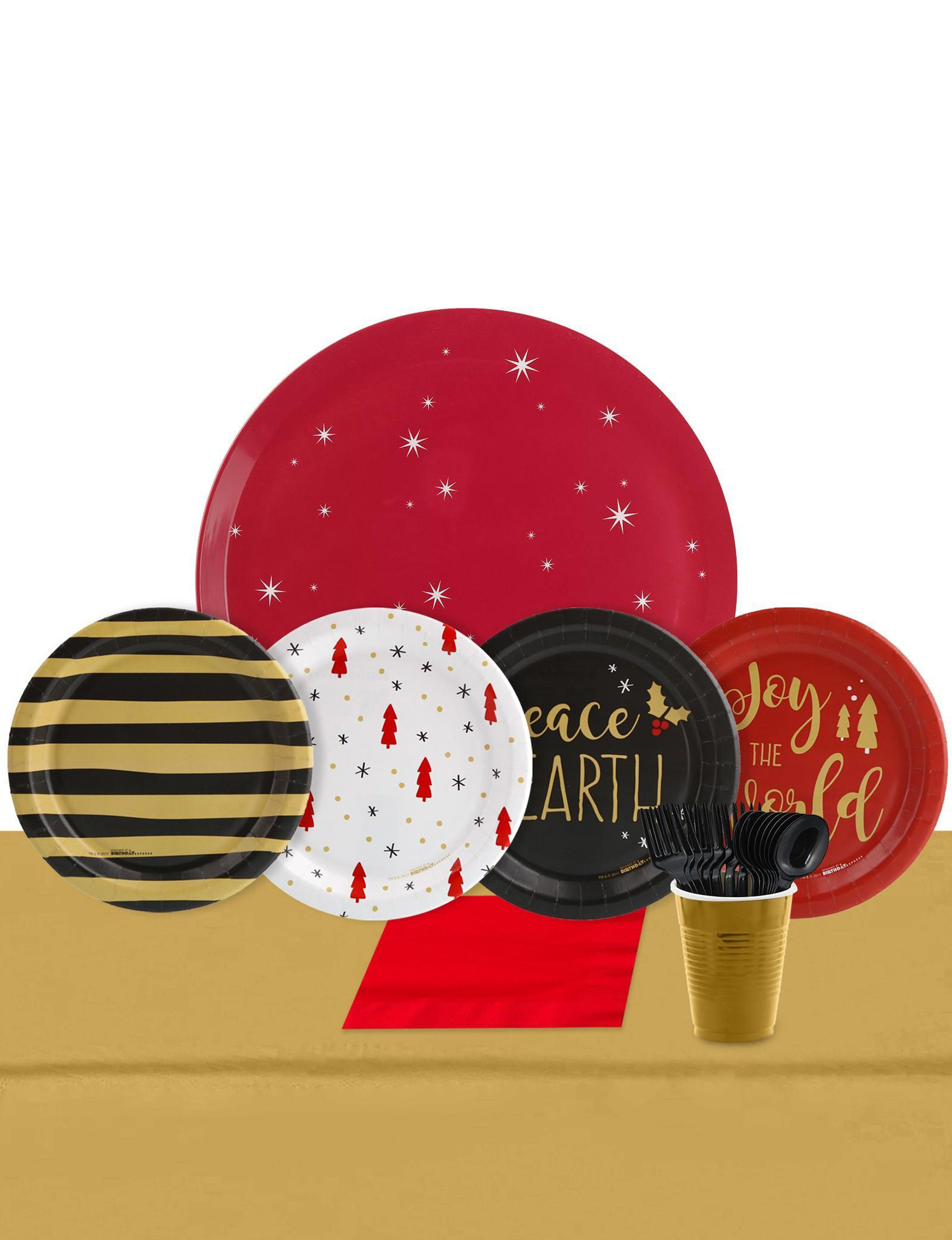 BuySeasons Red / Gold Decorative Objects Holiday Dining & Entertaining Serving Platters & Trays Holiday Decor Party Decor Party Tableware Serveware