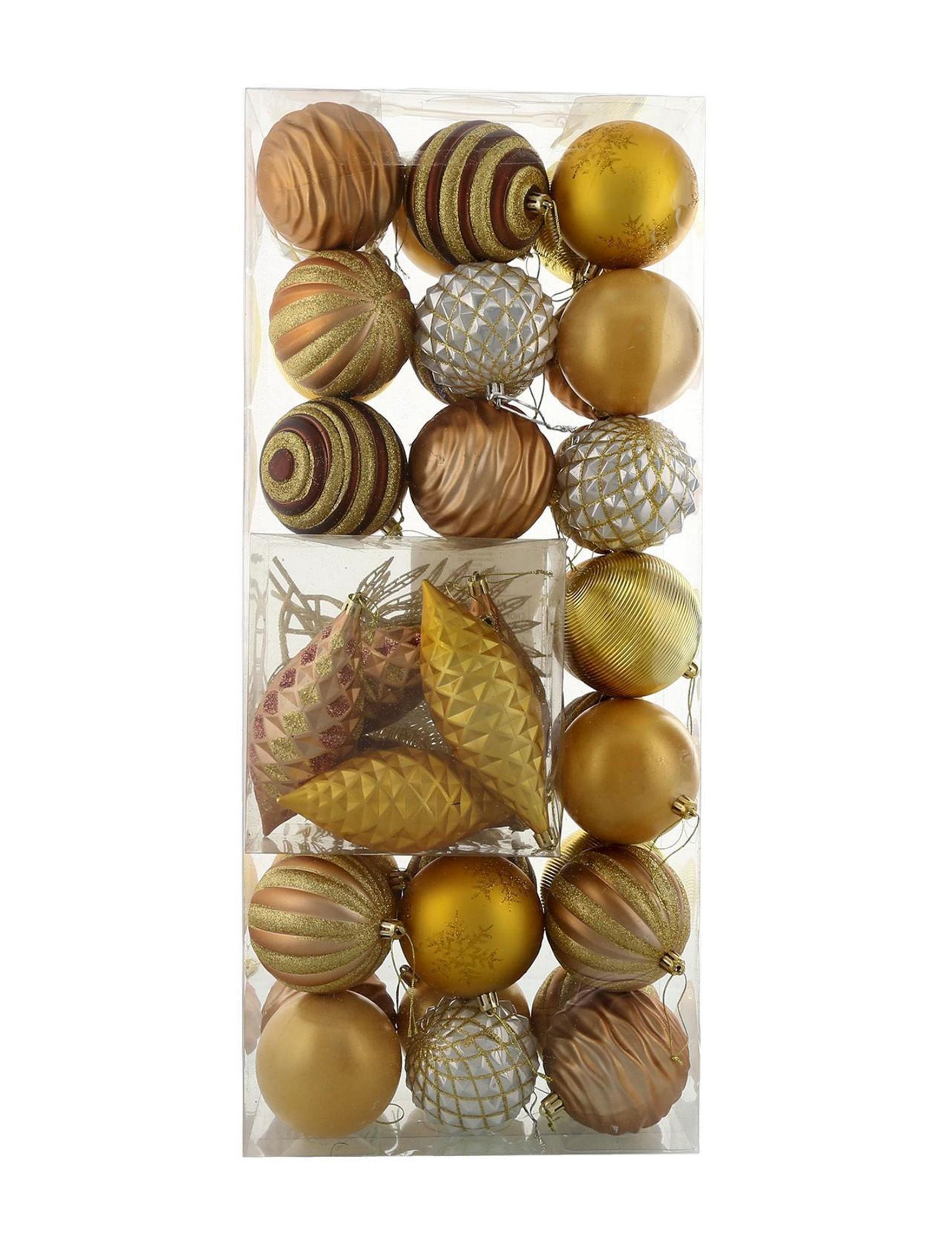BuySeasons Gold Decorative Objects Ornaments Holiday Decor