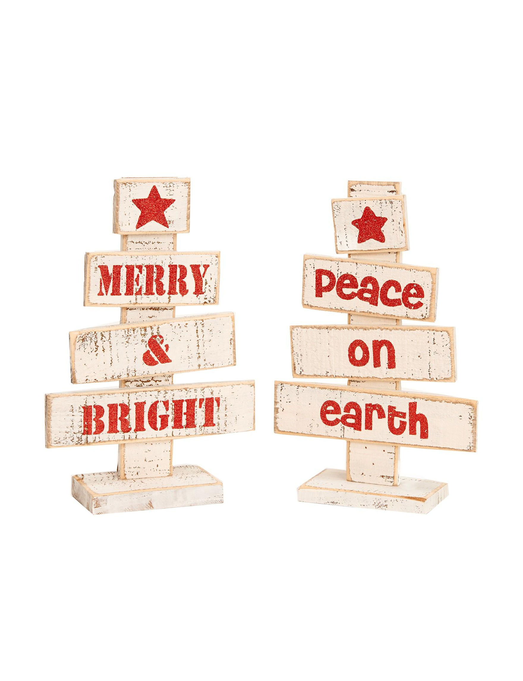 BuySeasons White / Red Decorative Objects Holiday Decor