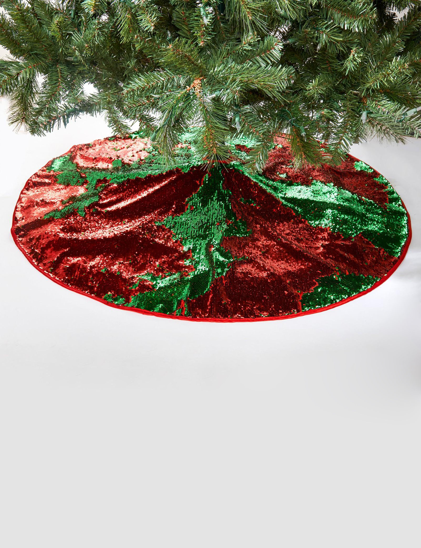 BuySeasons Green / Red Decorative Objects Stockings & Tree Skirts Holiday Decor