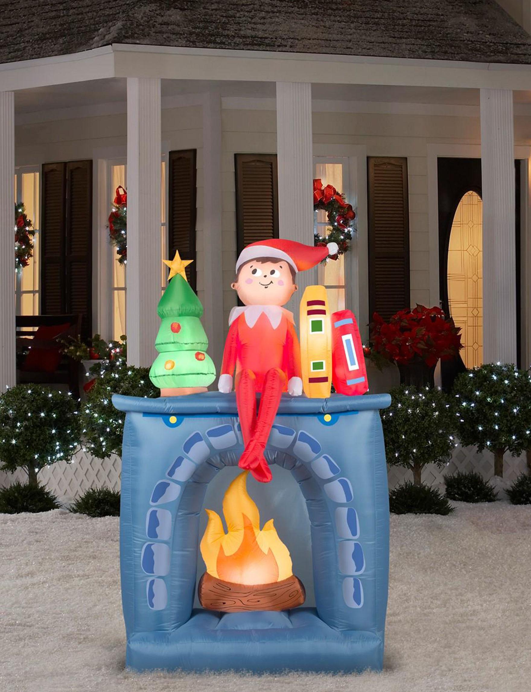 GEMMY Blue Multi Decorative Objects Outdoor Holiday Decor Planters & Garden Decor Holiday Decor Outdoor Decor