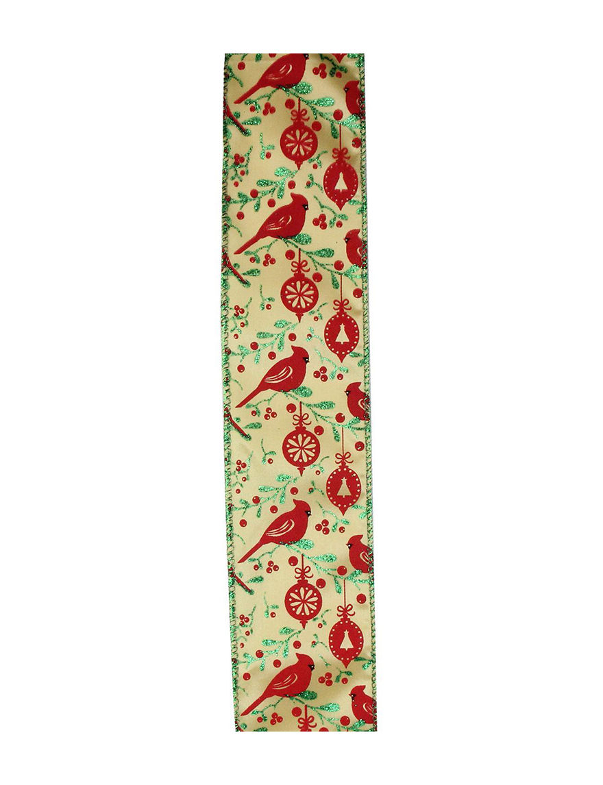 Christmas Central Red / Gold Decorative Objects Ribbon Holiday Decor