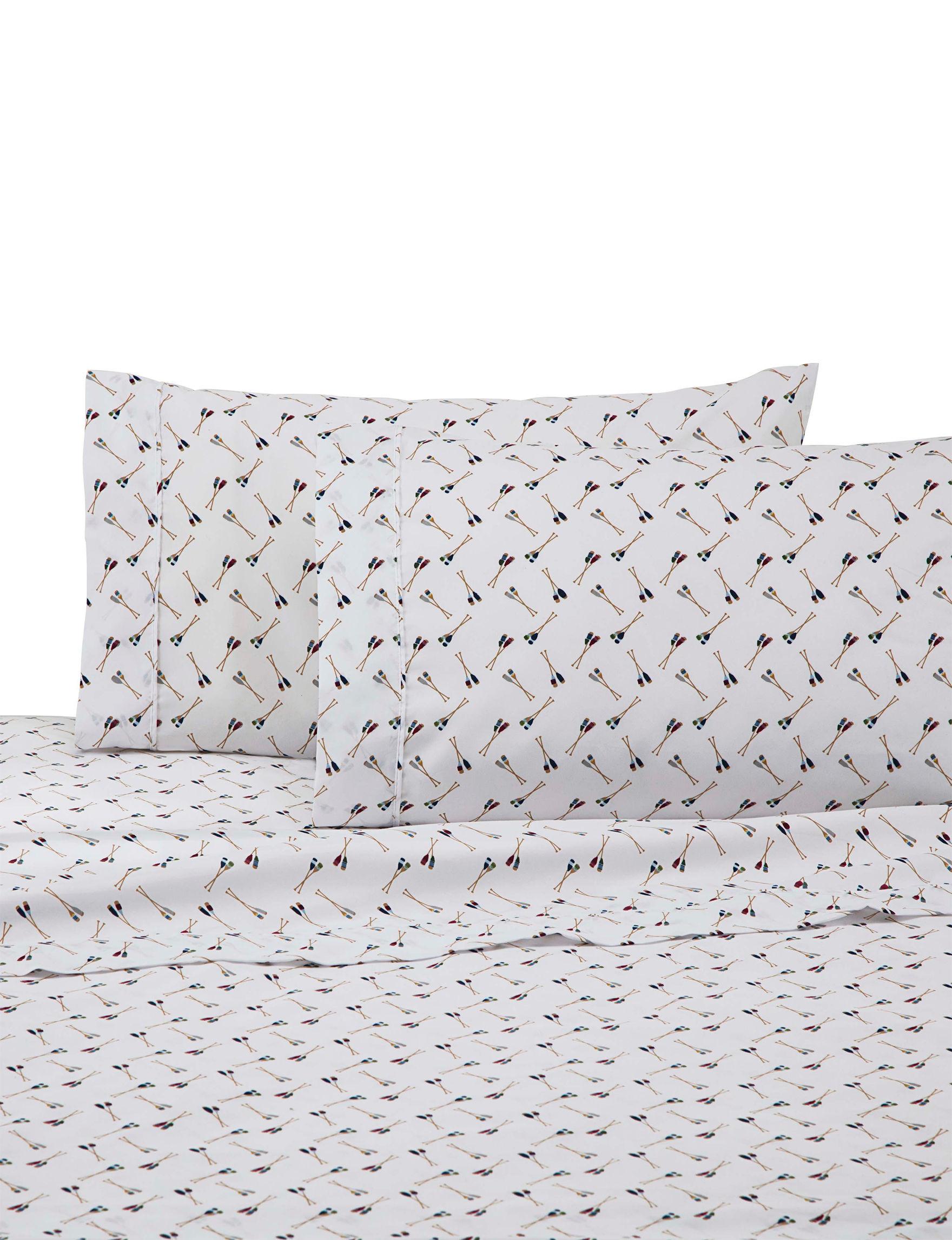 Izod White Multi Sheets & Pillowcases