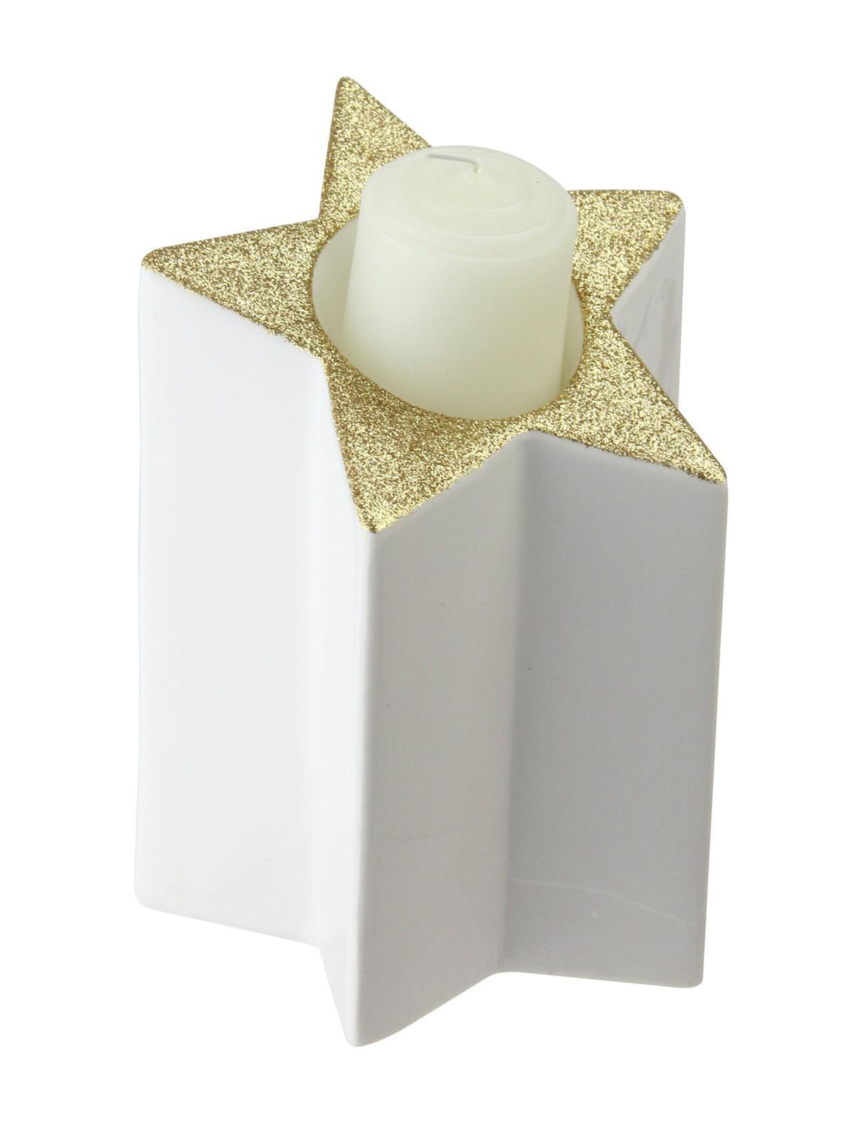 Northlight White / Gold Decorative Objects Candles & Diffusers Holiday Decor Home Accents