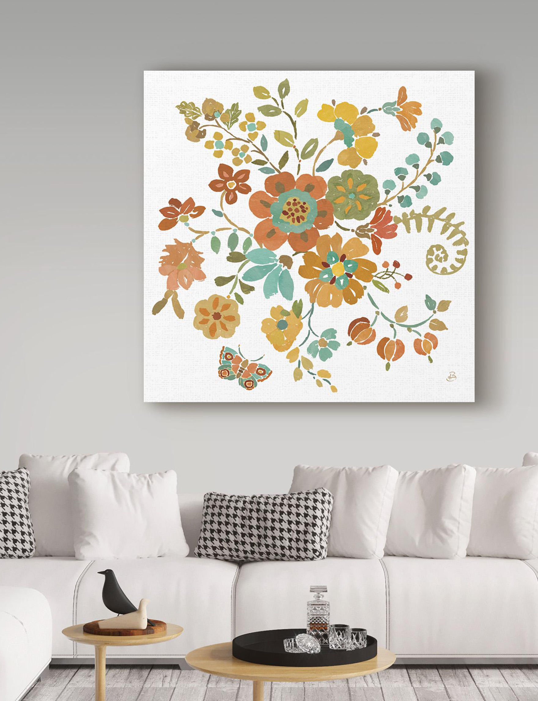 Trademark Fine Art Brown Floral Wall Art Home Accents Wall Decor