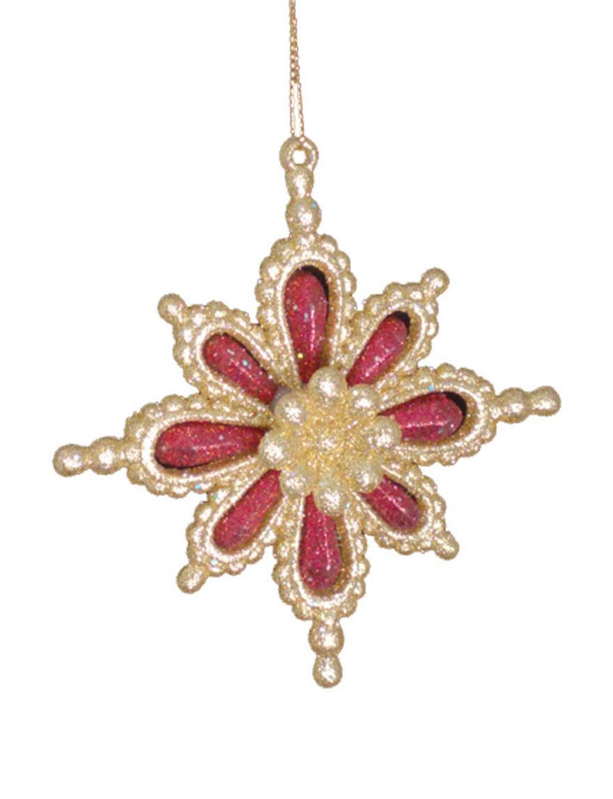 Lynn Roberts Red / Gold Ornaments Holiday Decor