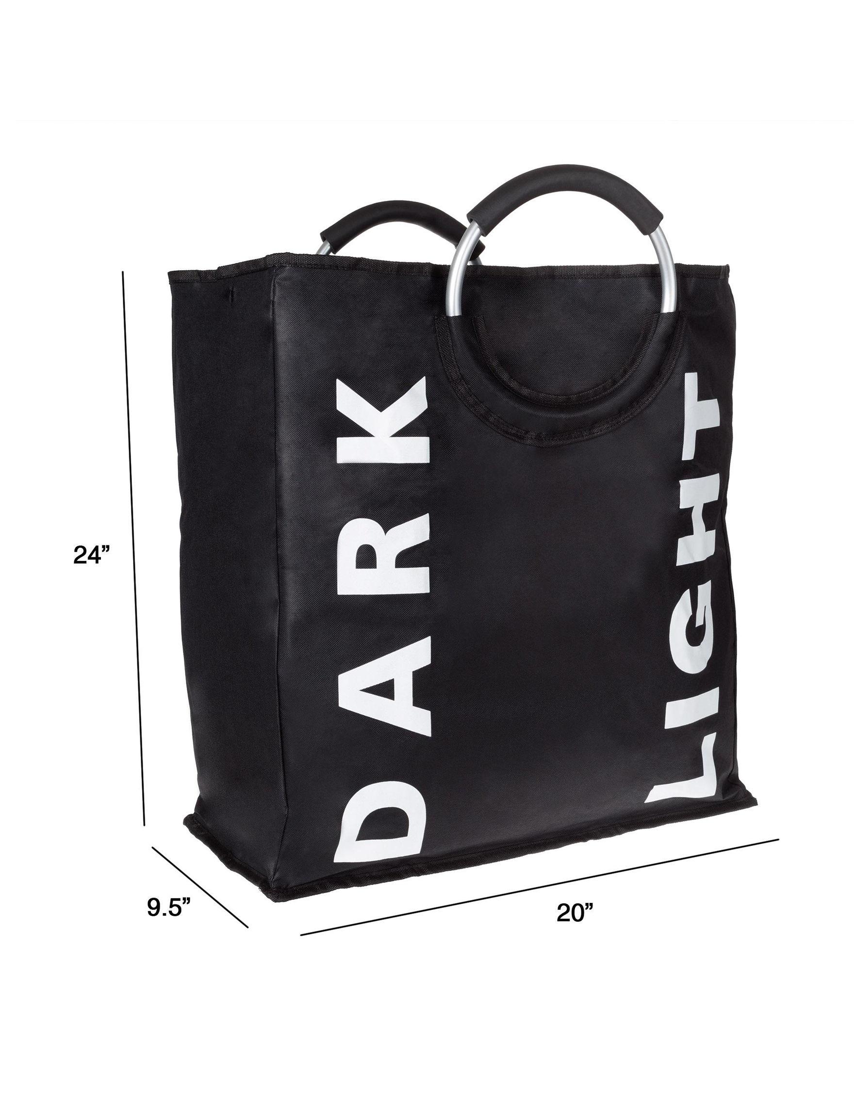 Lavish Home Black /  White Laundry Hampers Irons & Clothing Care