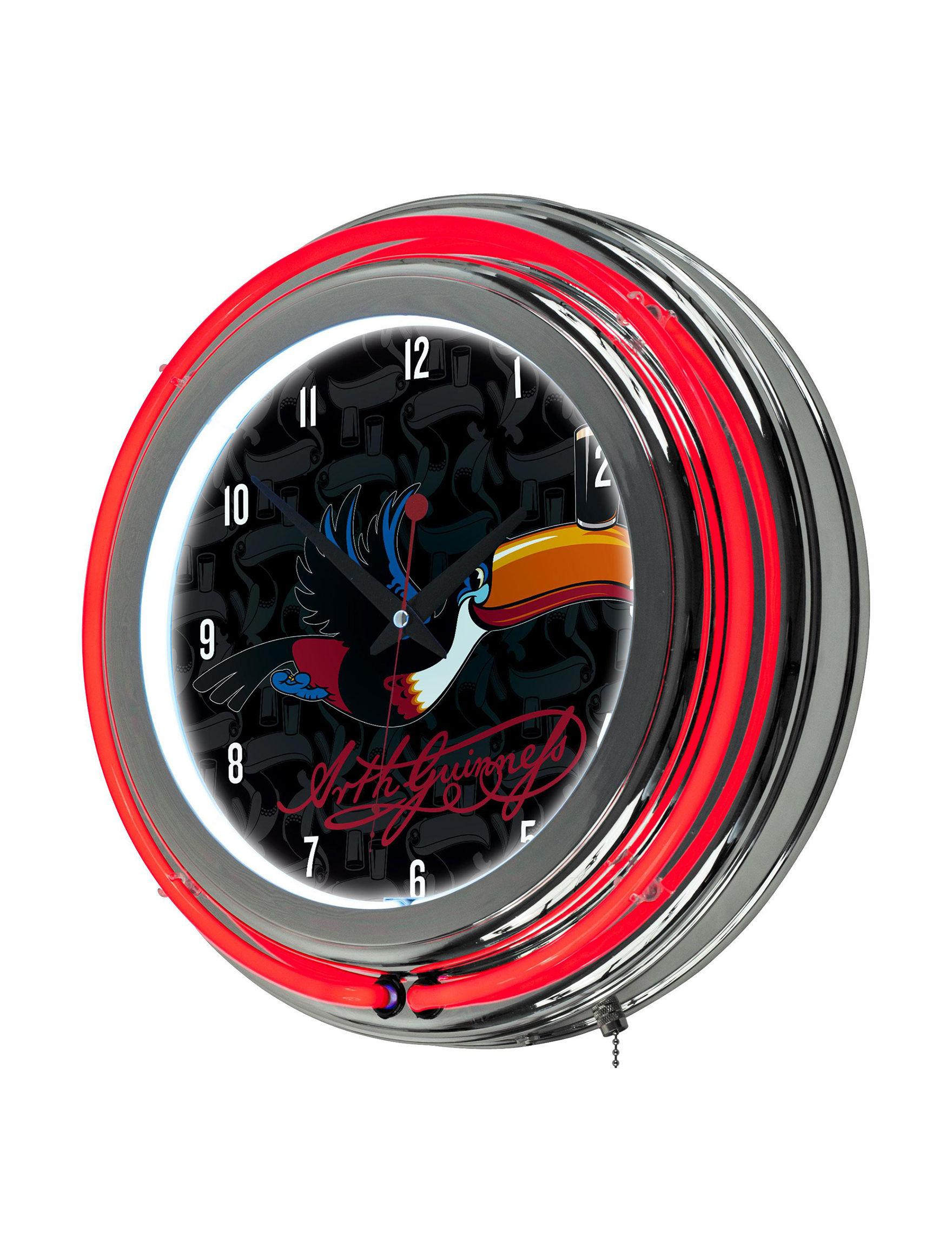 Trademark Global Red / Black Wall Clocks Wall Decor