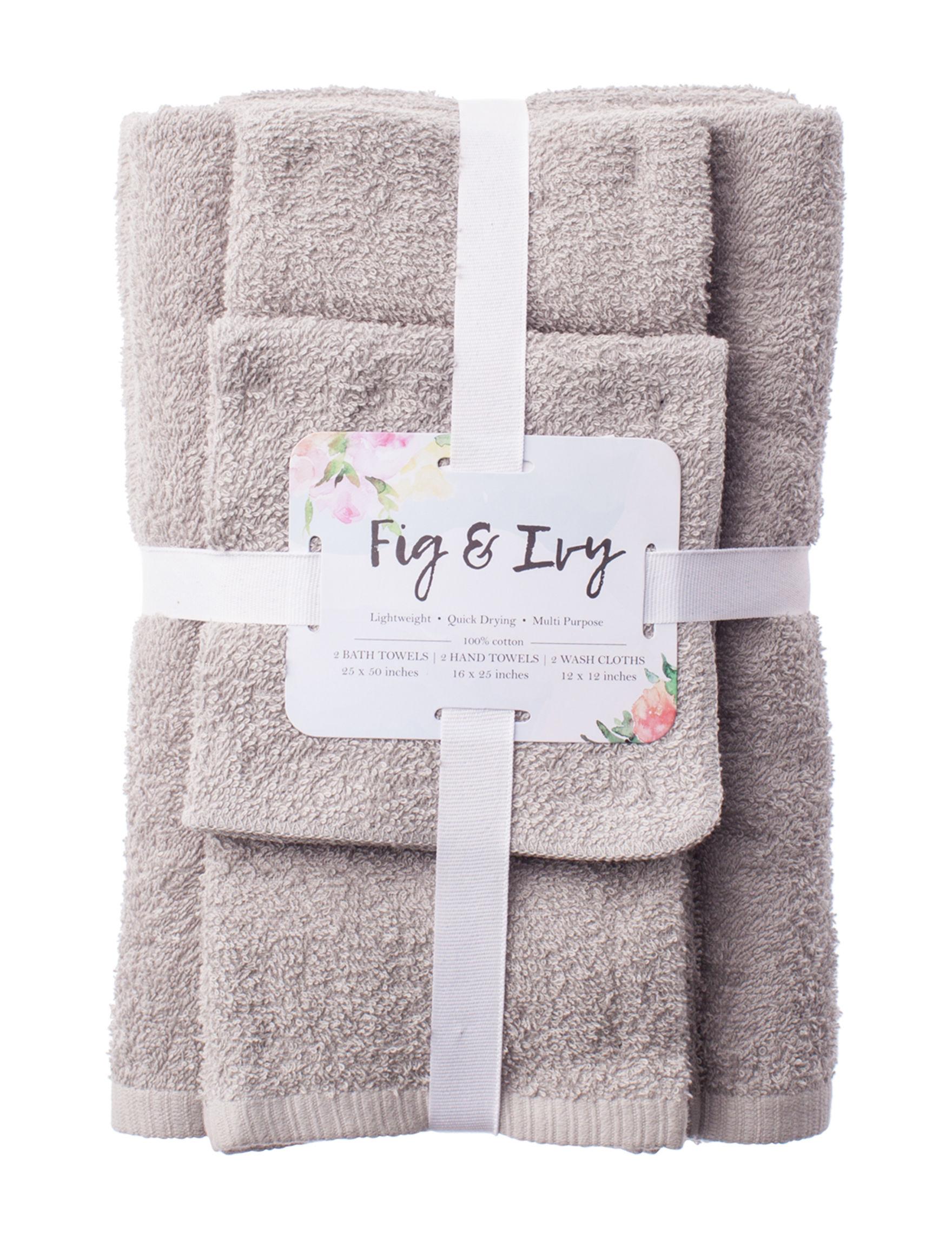Fig & Ivy Grey Bath Towels Hand Towels Towel Sets Washcloths Towels
