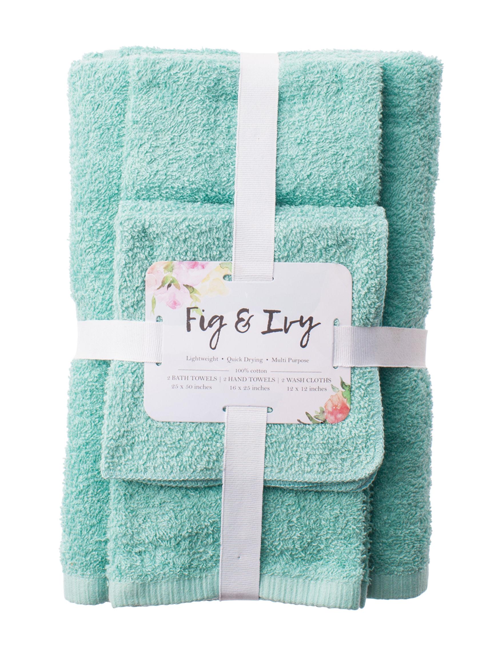 Fig & Ivy Aqua Bath Towels Hand Towels Washcloths Towels