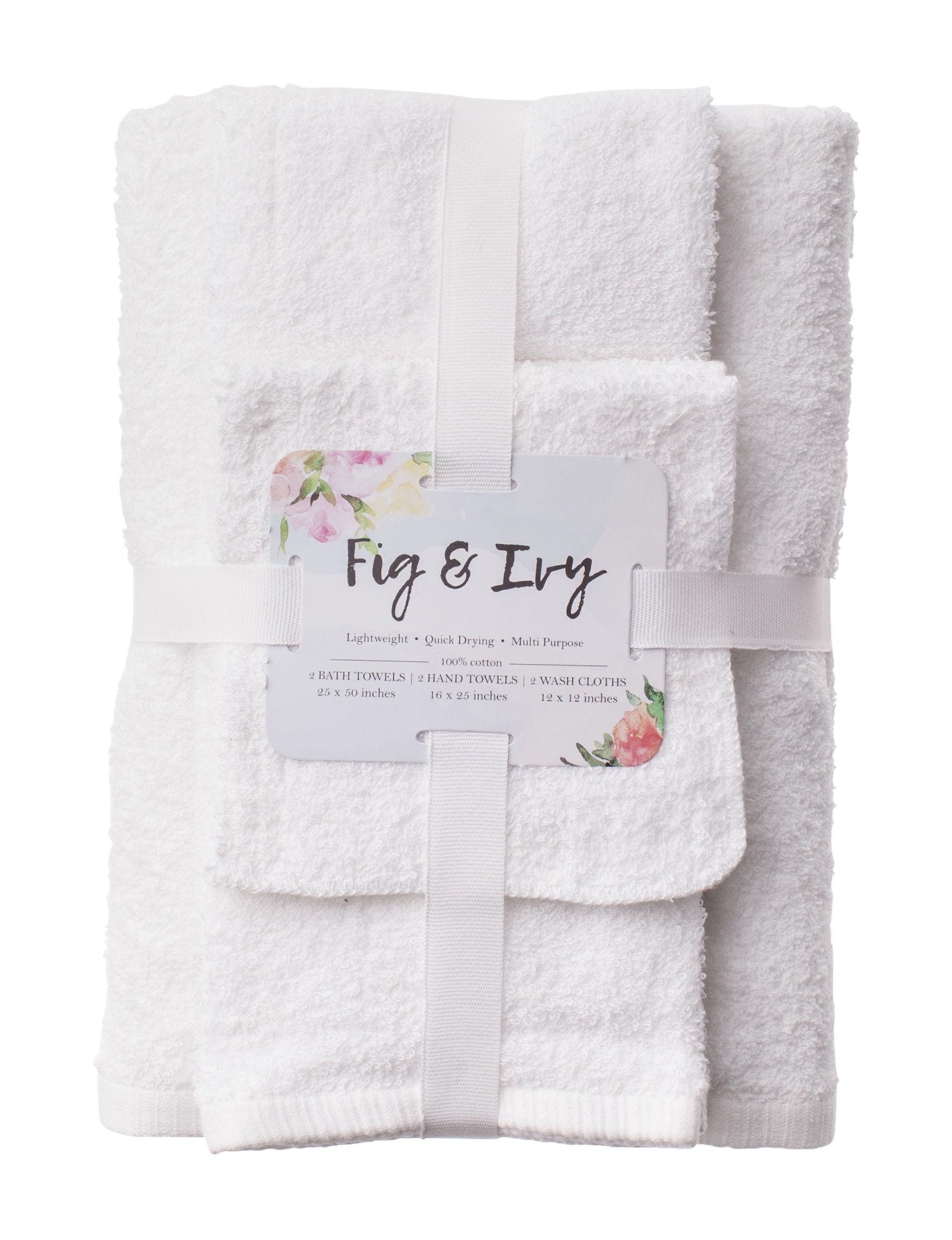 Fig & Ivy White Bath Towels Hand Towels Washcloths Towels