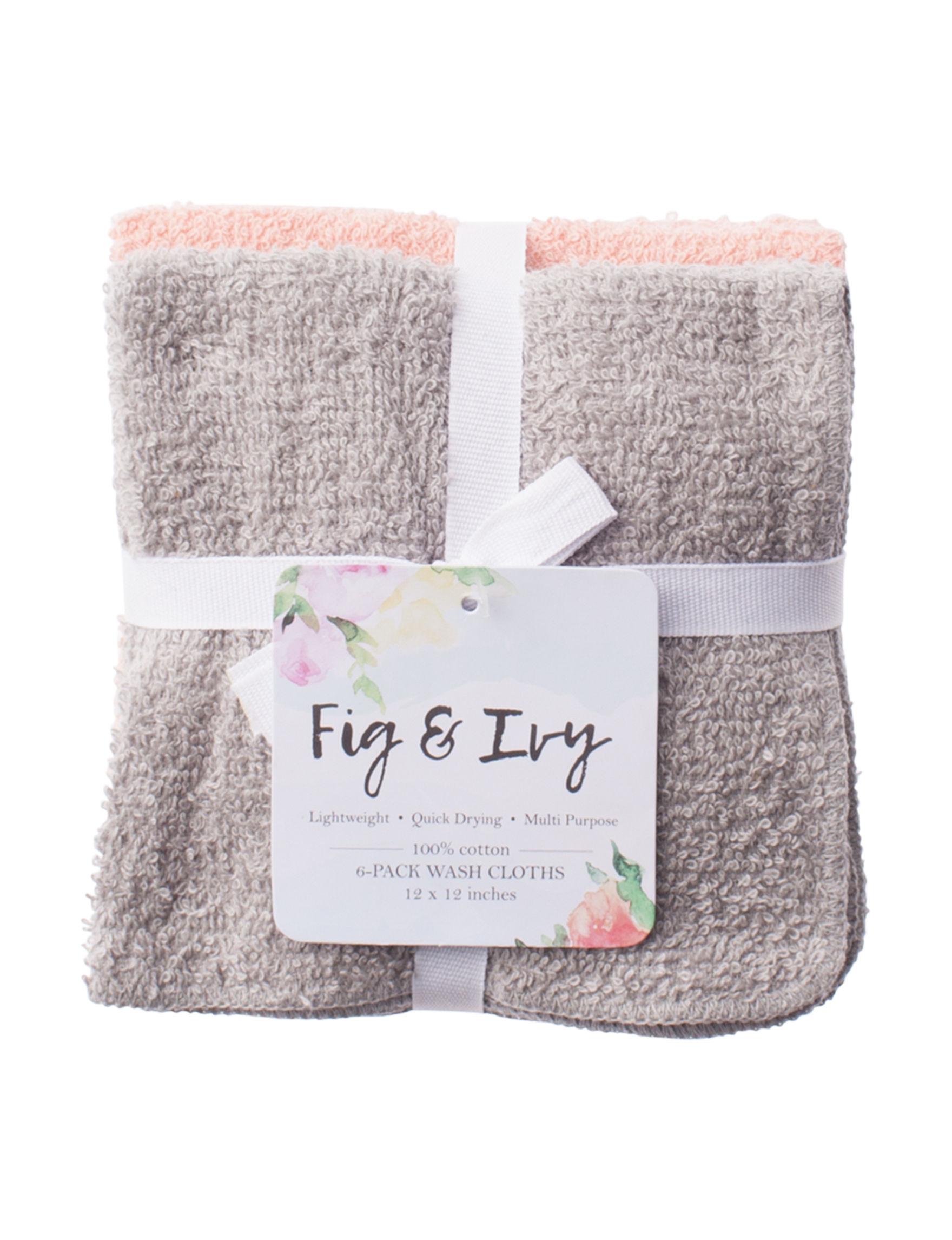 Fig & Ivy Coral Washcloths Towels