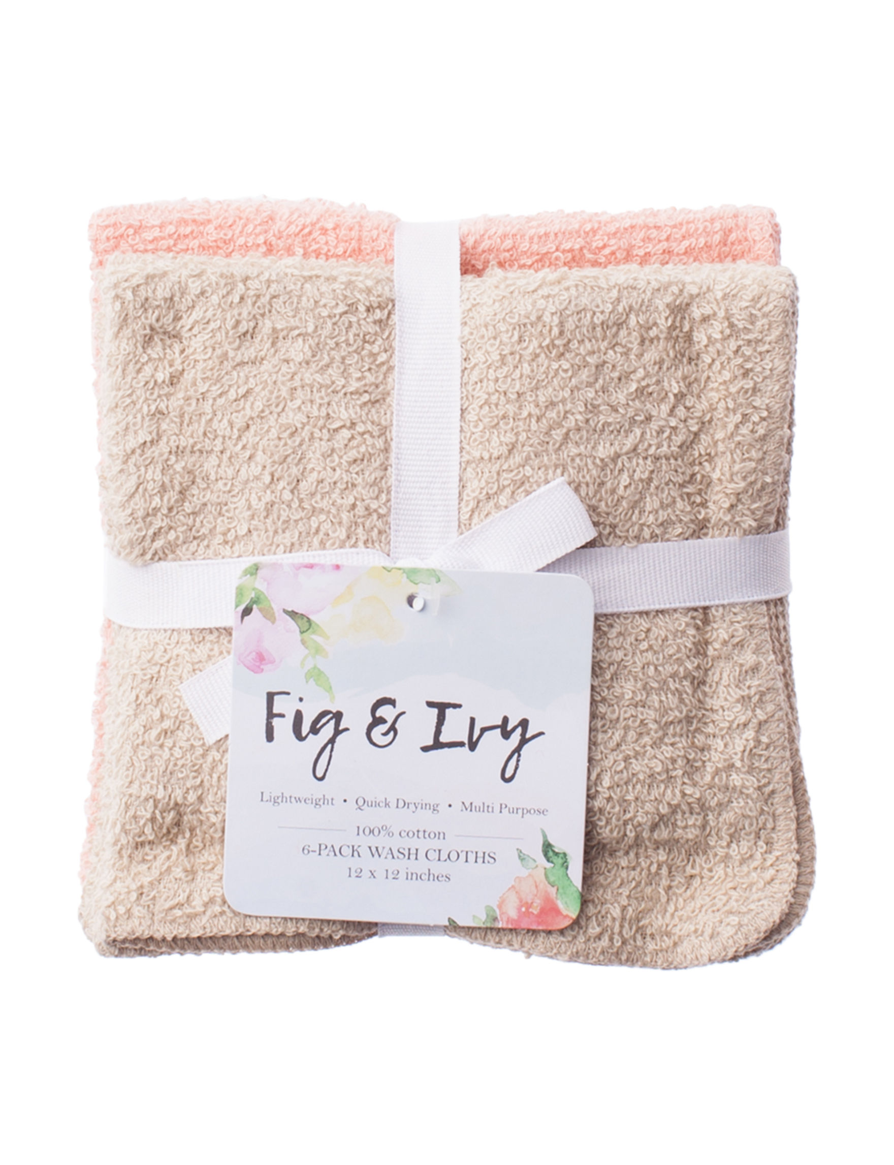 Fig & Ivy Beige / Coral Washcloths Towels