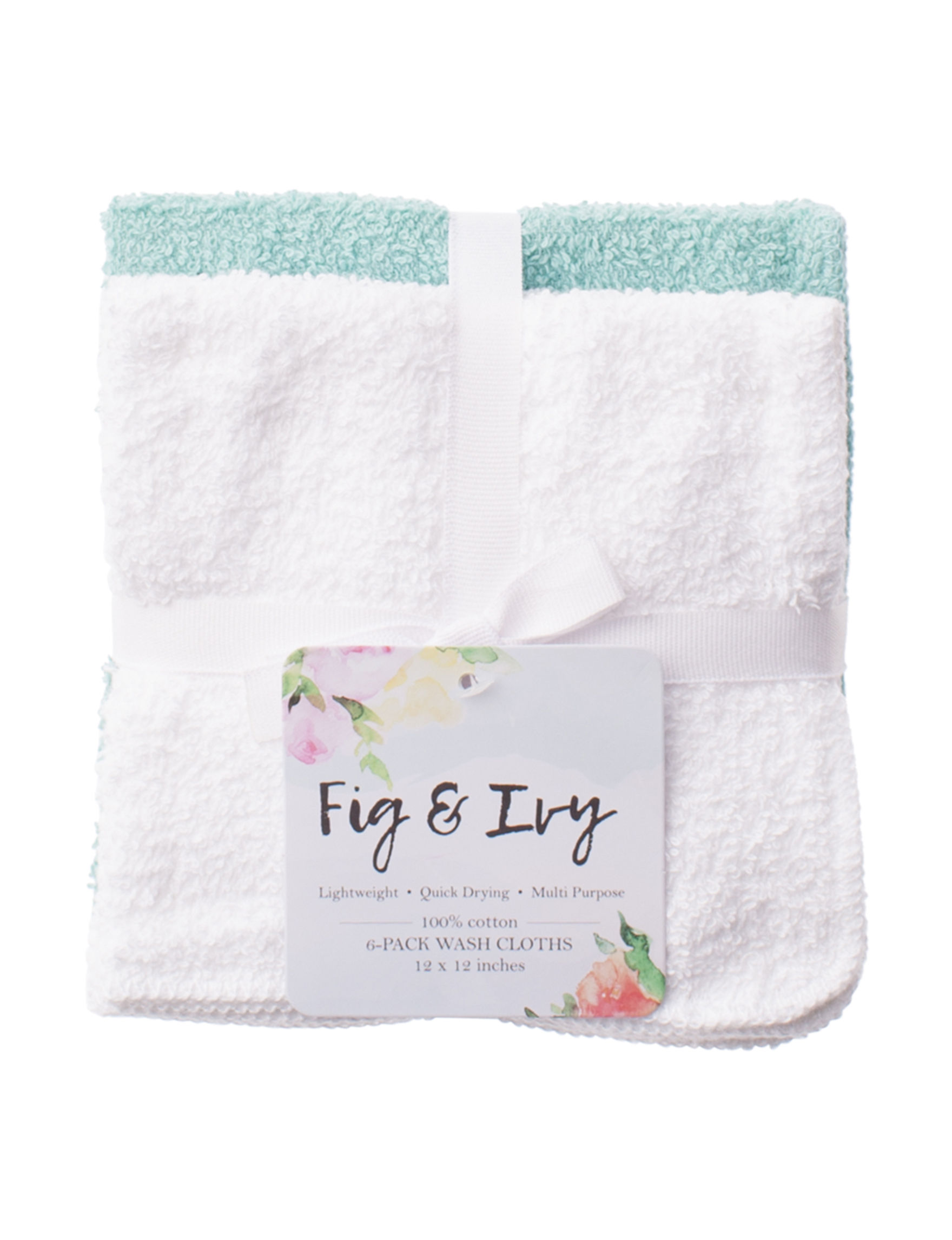 Fig & Ivy White Washcloths Towels
