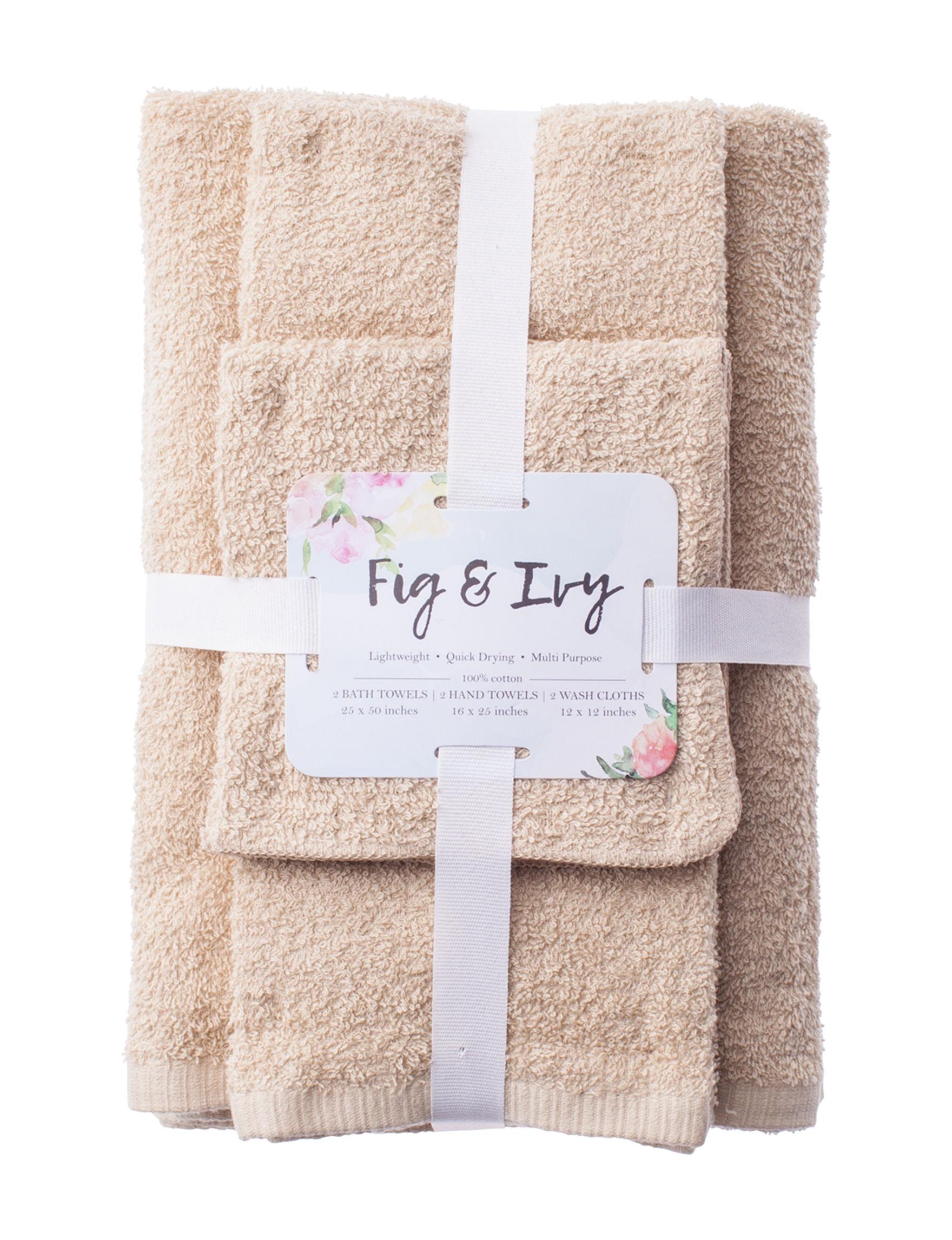 Fig & Ivy Tan Bath Towels Hand Towels Towel Sets Washcloths Towels
