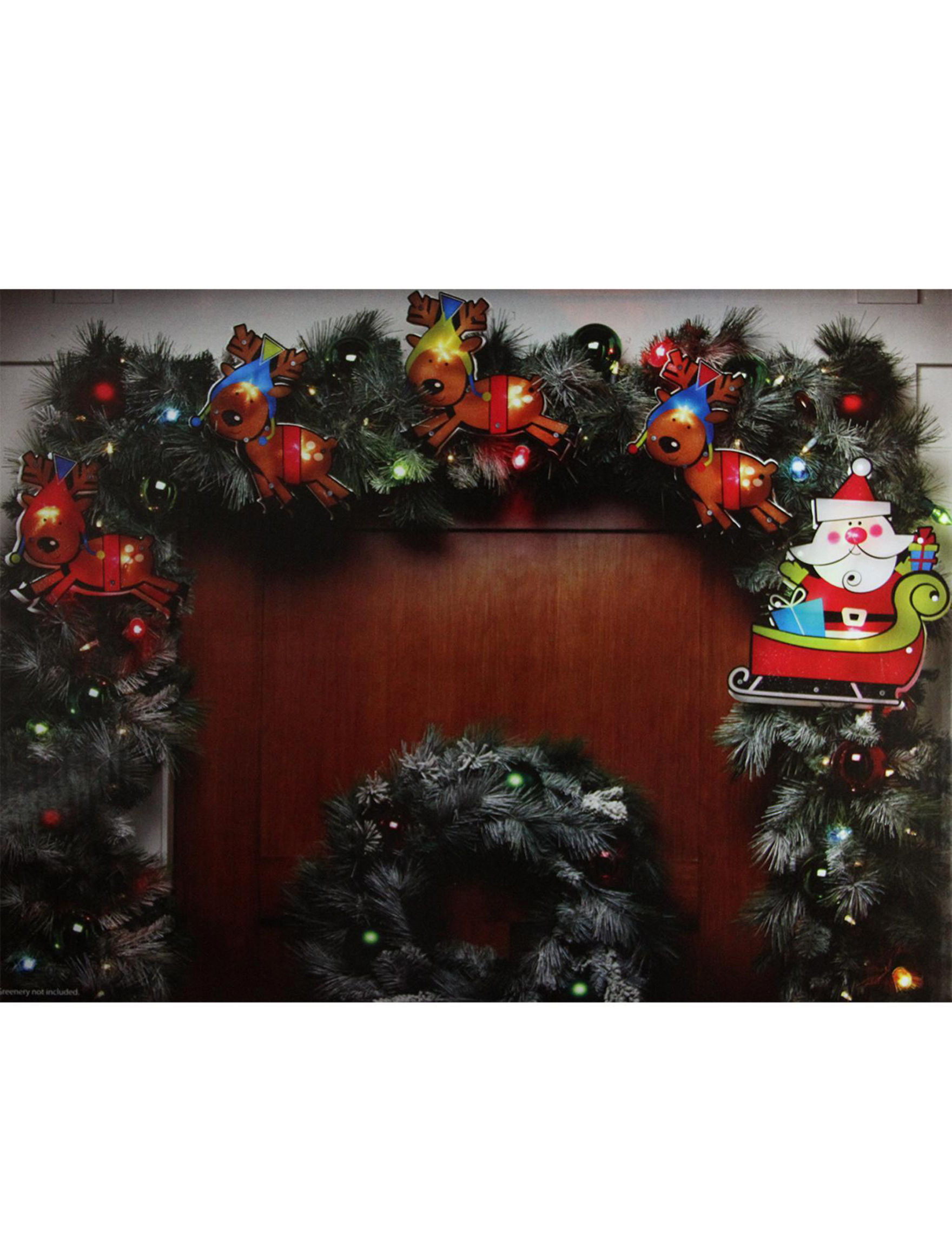 impact innovation 8 shimmering santa claus reindeer christmas light garland stage stores