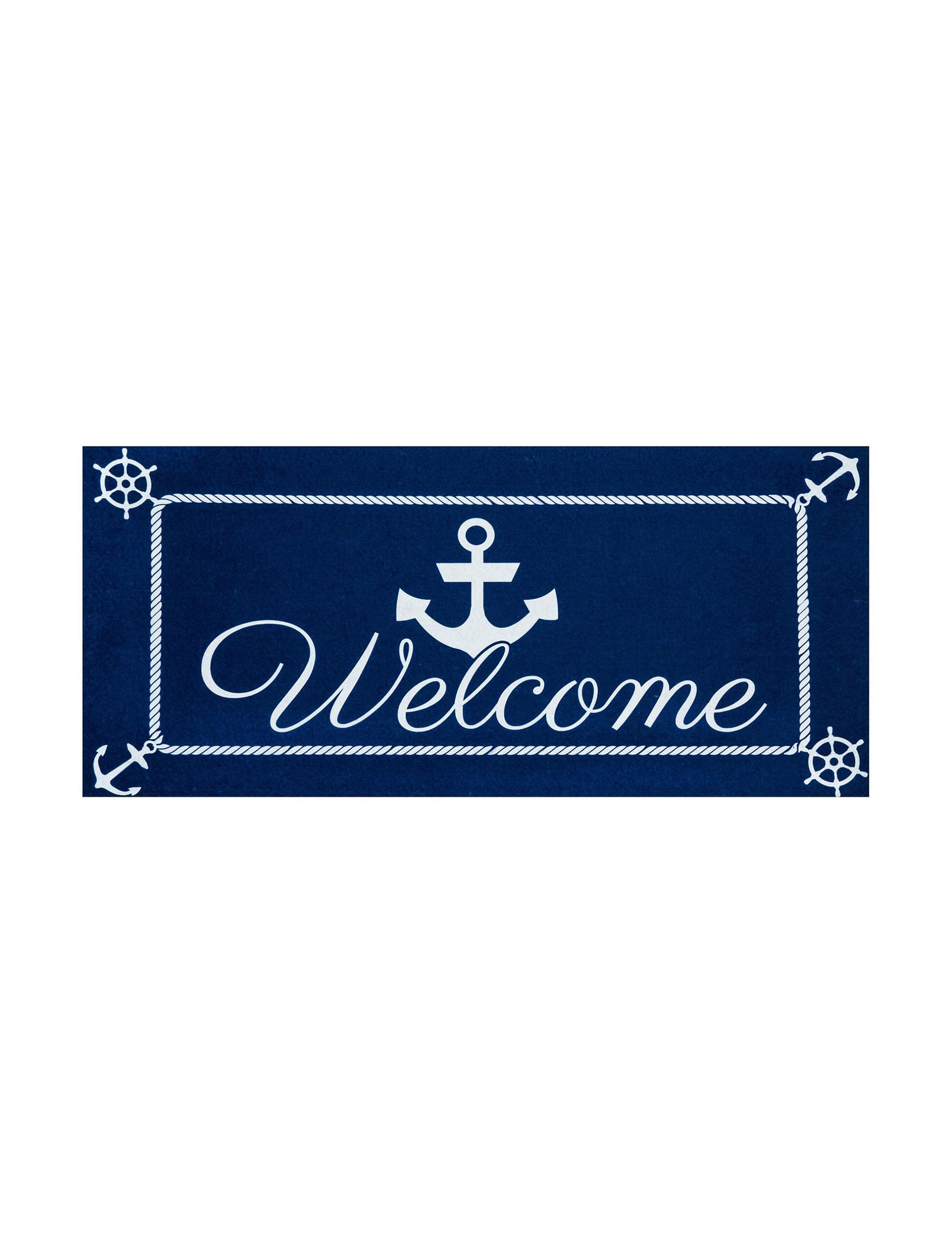 Evergreen Navy Outdoor Rugs & Doormats Outdoor Decor