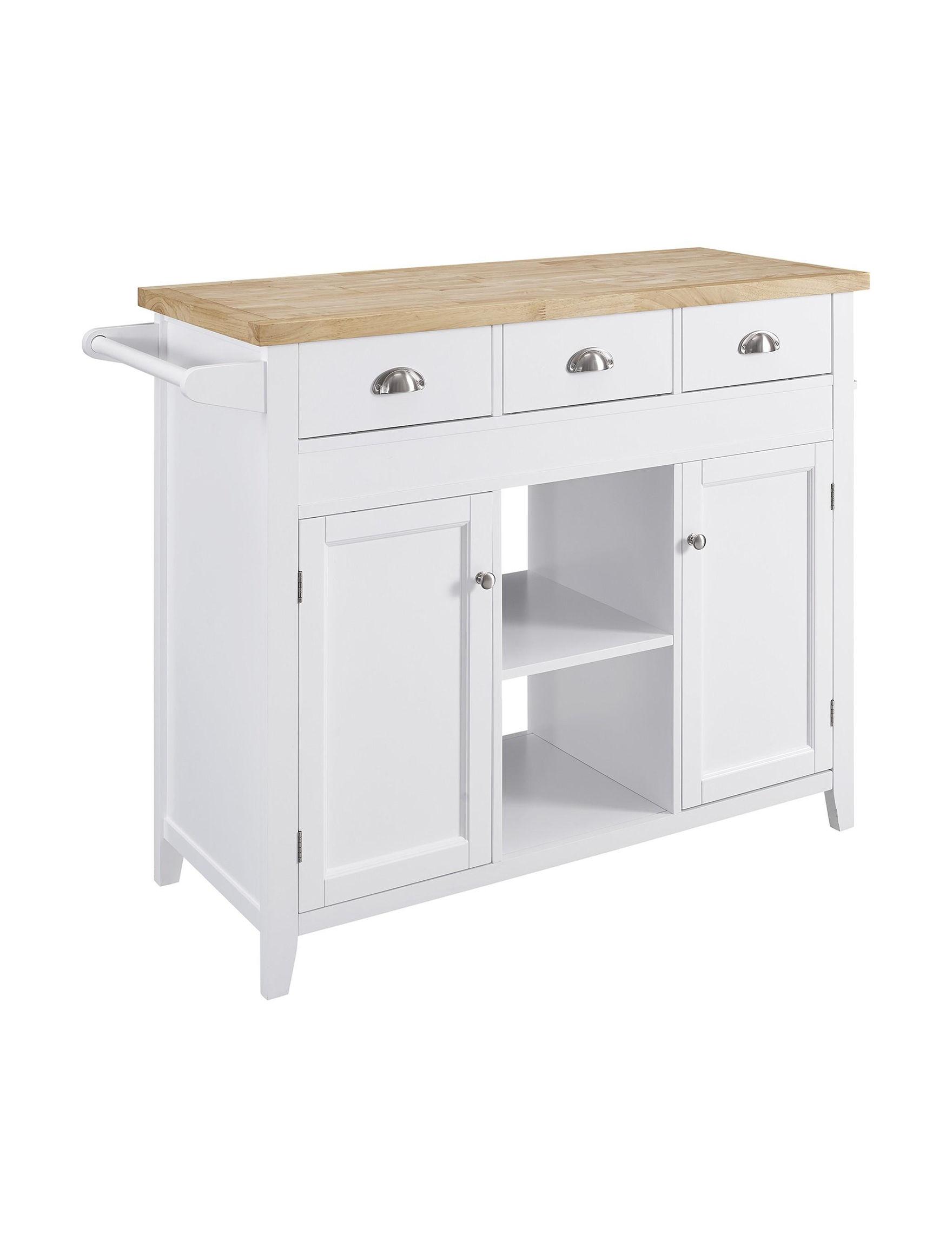 Linon White Kitchen Islands & Carts Kitchen & Dining Furniture